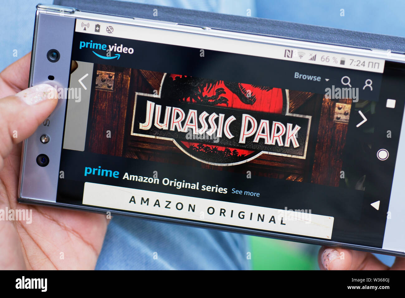 Amazon Prime Video, Prime Amazon Original Series, Jurassic Park Movie streaming website on Smartphone Mobile Phone screen Stock Photo