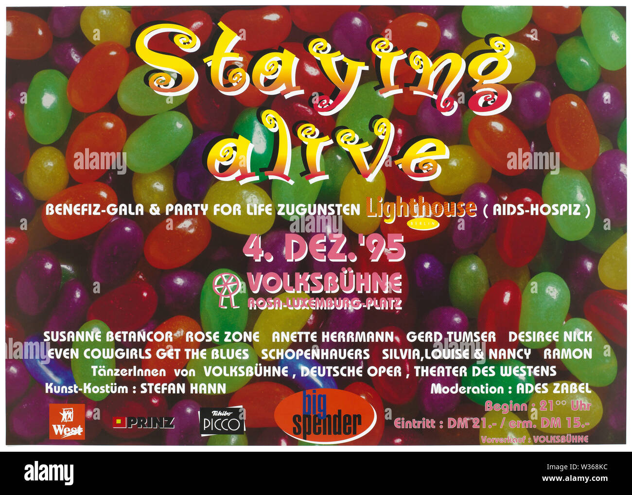 A background of multi-coloured jelly babies with the words 'Staying alive', advertising a benefit-gala in Berlin in aid of the Lighthouse AIDS hospice. Colour lithograph, 1995. - Stock Image