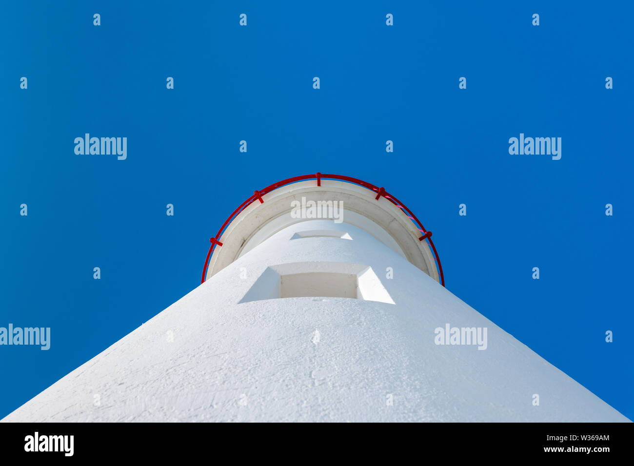 white lighthouse of Saint Martin de Re (France) from below on a sunny day - Stock Image