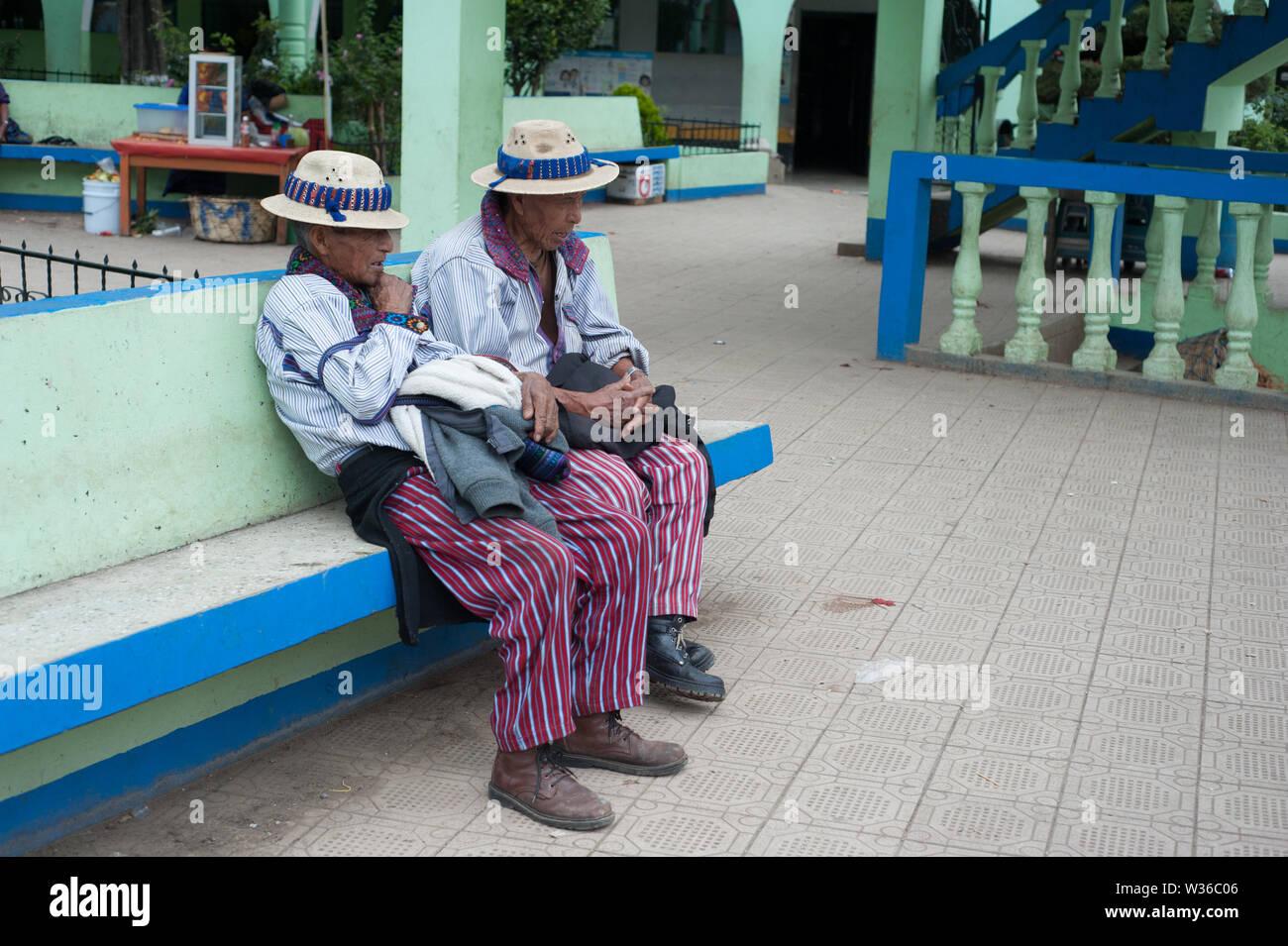 Maya indigenous men in traditional clothing in Todos Santos Cuchumatán, Guatemala. Stock Photo
