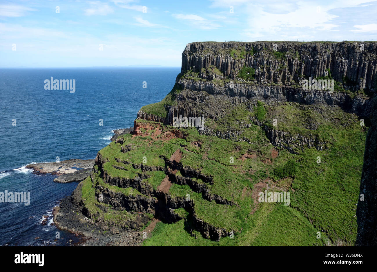 The Western Cliffs of Benbane Head on the Giant's Causeway Coastal Path, County Antrim, Northern Ireland, UK Stock Photo
