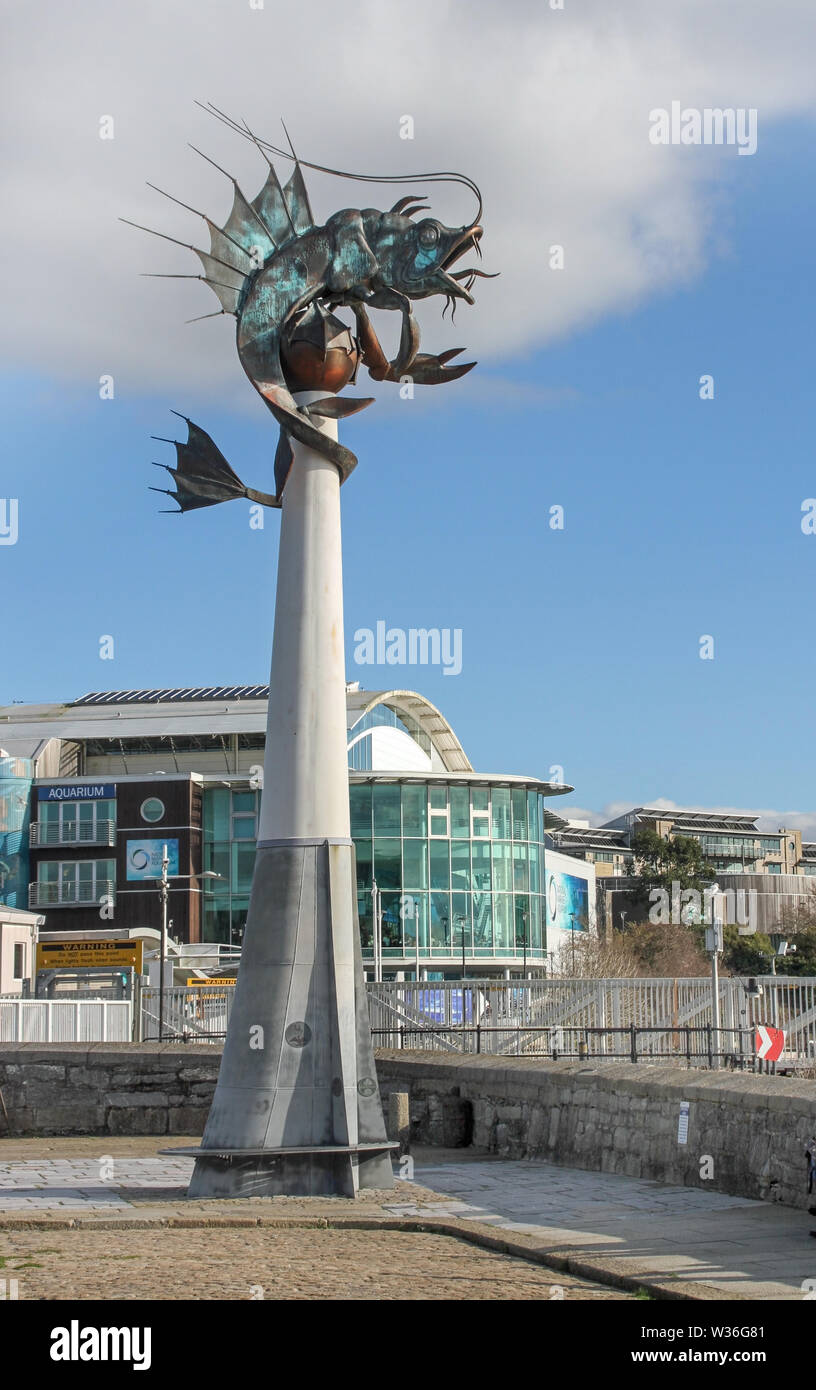 The Giant Prawn, sculpture on West Pier Plymouth Barbican - Stock Image