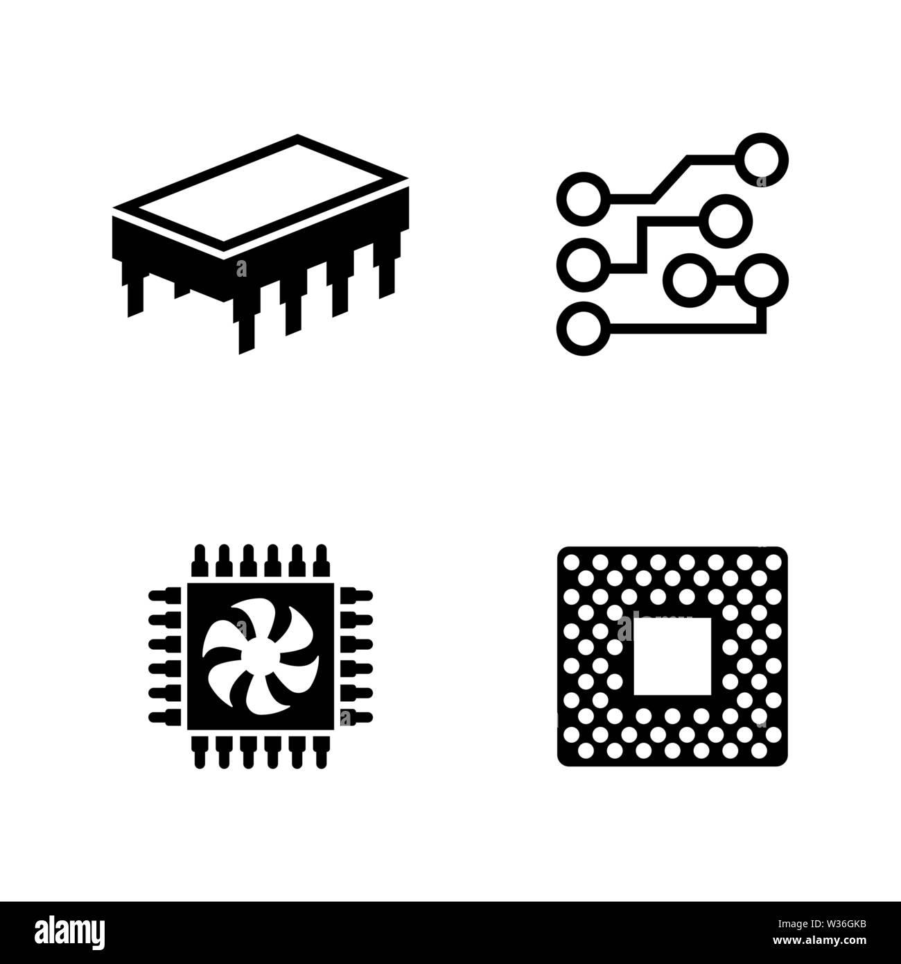 Computer Chips. Simple Related Vector Icons Set for Video, Mobile Apps, Web Sites, Print Projects and Your Design. Black Flat Illustration on White Ba - Stock Image