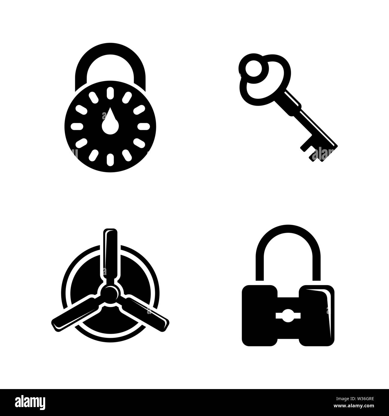 Keys and Lock. Simple Related Vector Icons Set for Video, Mobile Apps, Web Sites, Print Projects and Your Design. Black Flat Illustration on White Bac - Stock Image