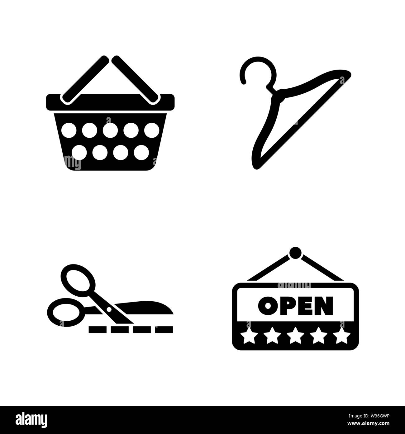 Shopping, Store. Simple Related Vector Icons Set for Video, Mobile Apps, Web Sites, Print Projects and Your Design. Shopping, Store icon Black Flat Il - Stock Image
