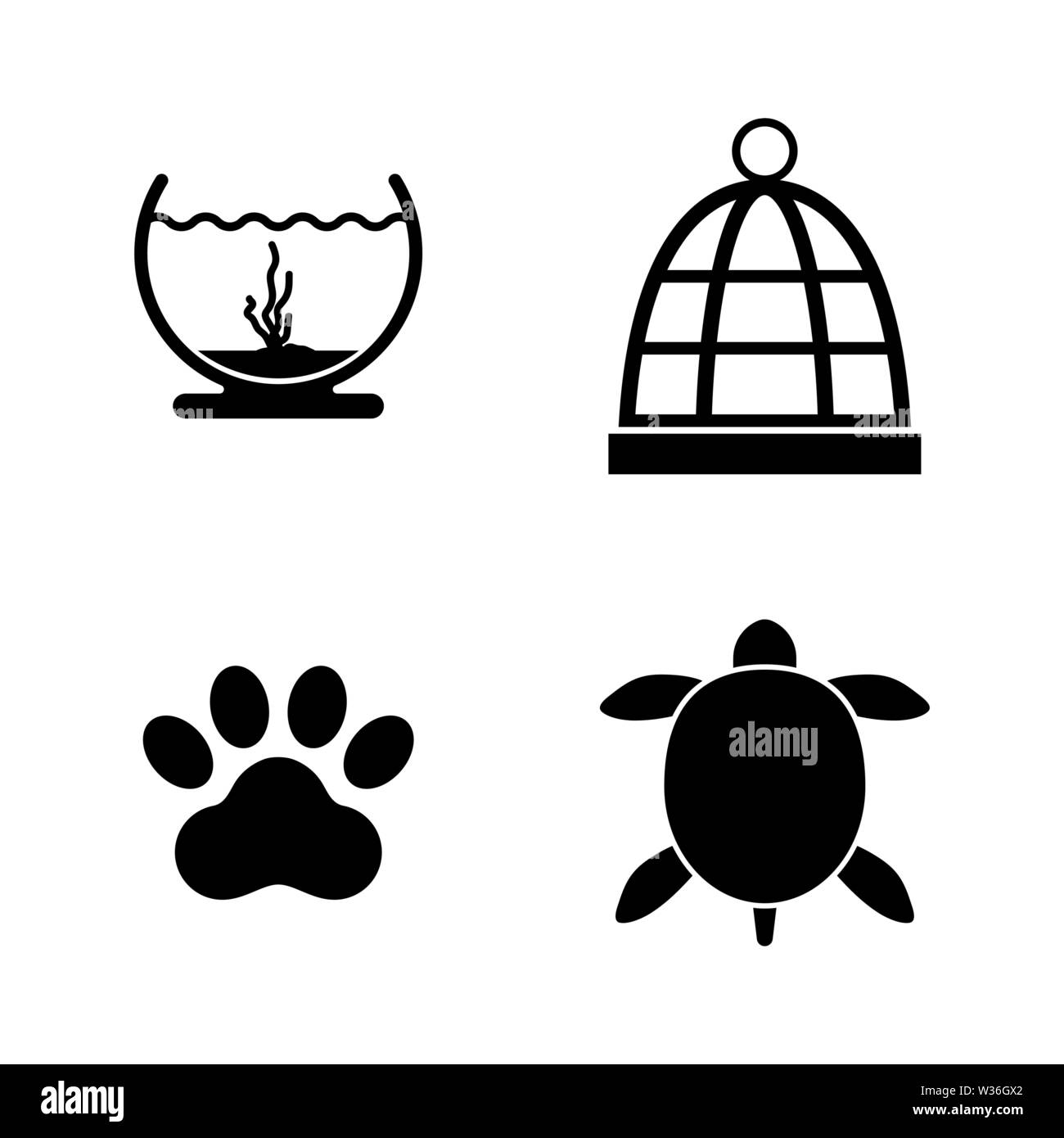 Keeping Pets. Simple Related Vector Icons Set for Video, Mobile Apps, Web Sites, Print Projects and Your Design. Keeping Pets icon Black Flat Illustra - Stock Image