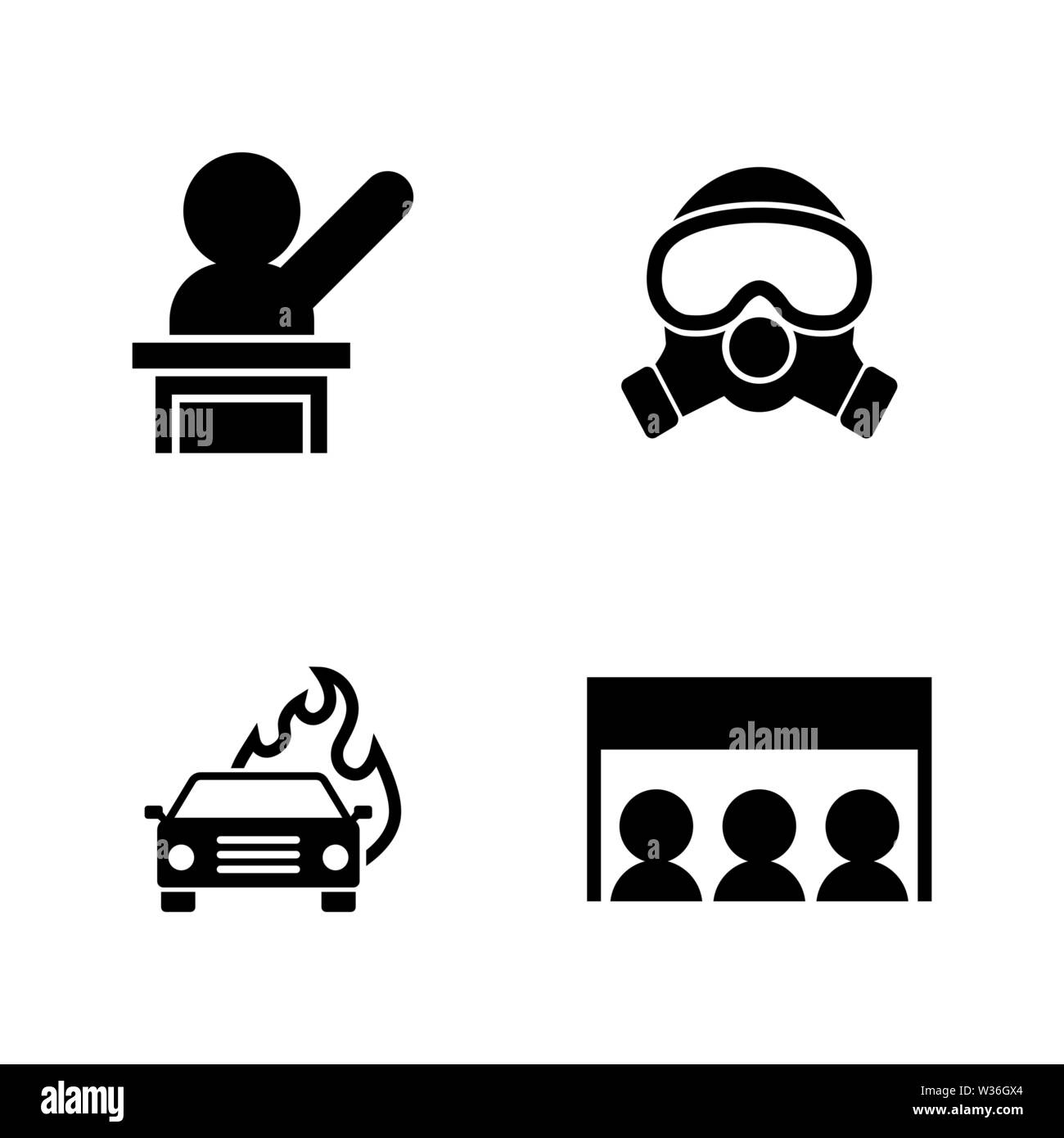 Protest Strike People  Simple Related Vector Icons Set for
