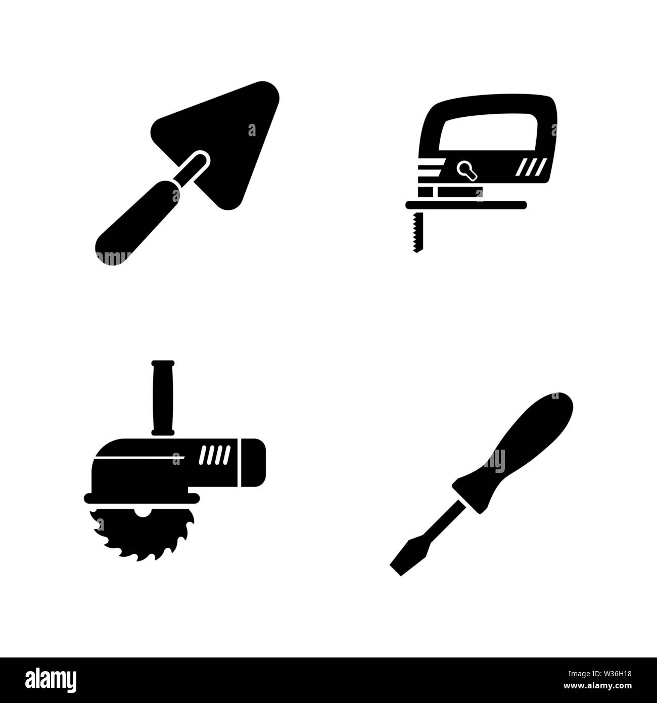 Home Repair Tools. Simple Related Vector Icons Set for Video, Mobile Apps, Web Sites, Print Projects and Your Design. Home Repair Tools icon Black Fla - Stock Vector