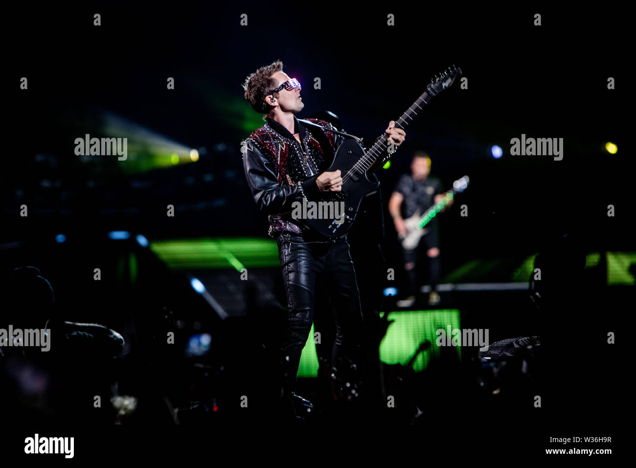 Muse performs live at Stadio San Siro in Milano, Italy, on July 12 2019 Stock Photo