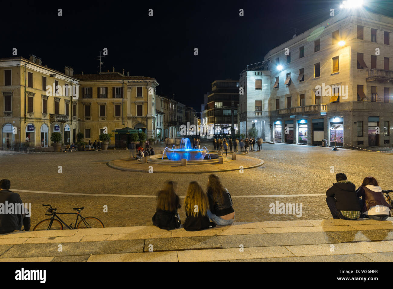 Historic center of Gallarate and Piazza della Libertà, the main square of the city, at night Italy - Stock Image