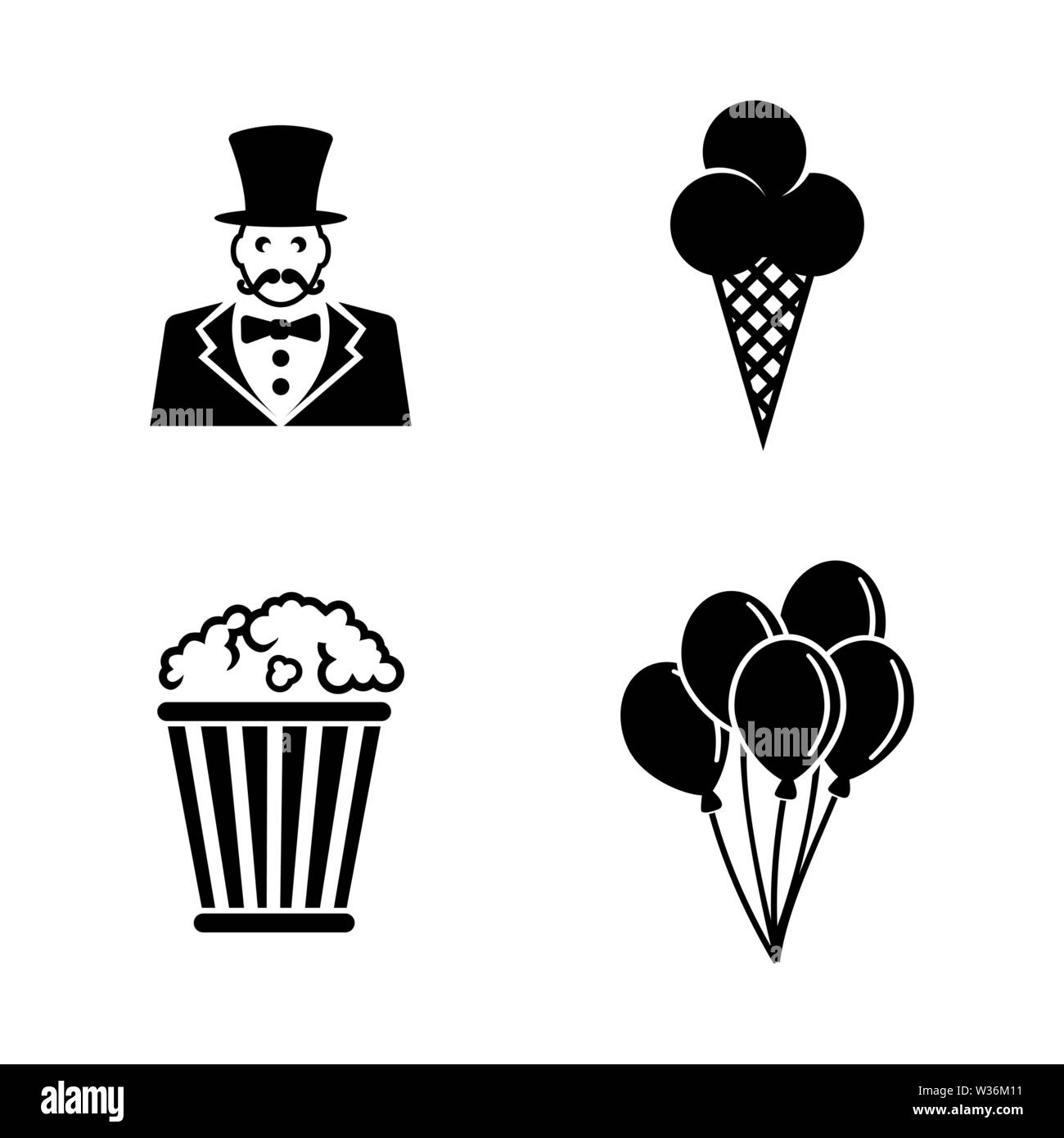 Circus Carnival Amusement Park. Simple Related Vector Icons Set for Video, Mobile Apps, Web Sites, Print Projects and Your Design. Black Flat Illustra - Stock Image