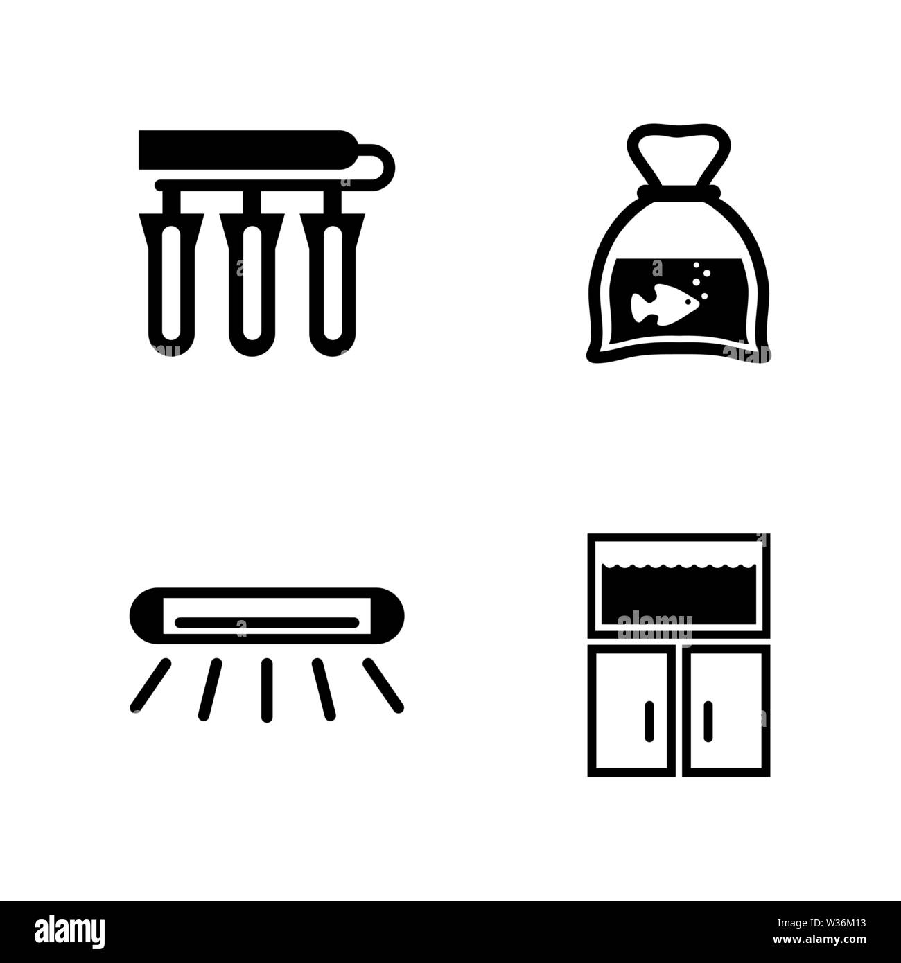 Aquarium accessories. Simple Related Vector Icons Set for Video, Mobile Apps, Web Sites, Print Projects and Your Design. Black Flat Illustration on Wh - Stock Image