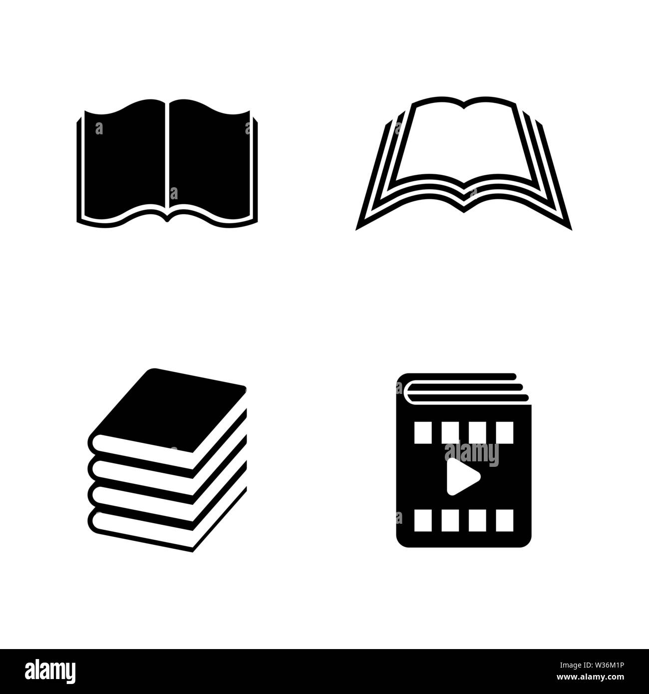 Book. Simple Related Vector Icons Set for Video, Mobile Apps, Web Sites, Print Projects and Your Design. Black Flat Illustration on White Background. - Stock Image