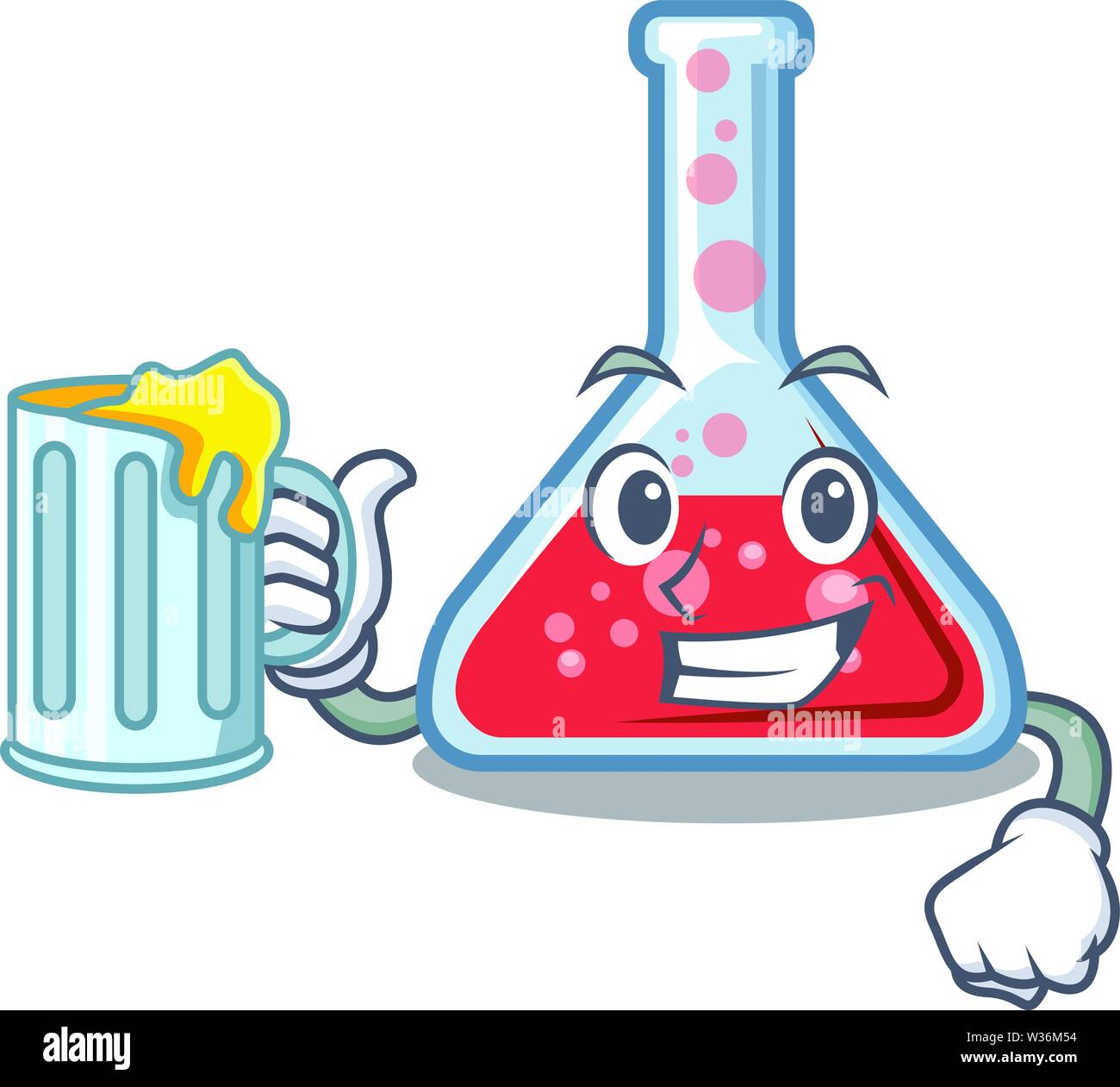 With juice erlenmeyer flask above wooden cartoon table Stock Vector
