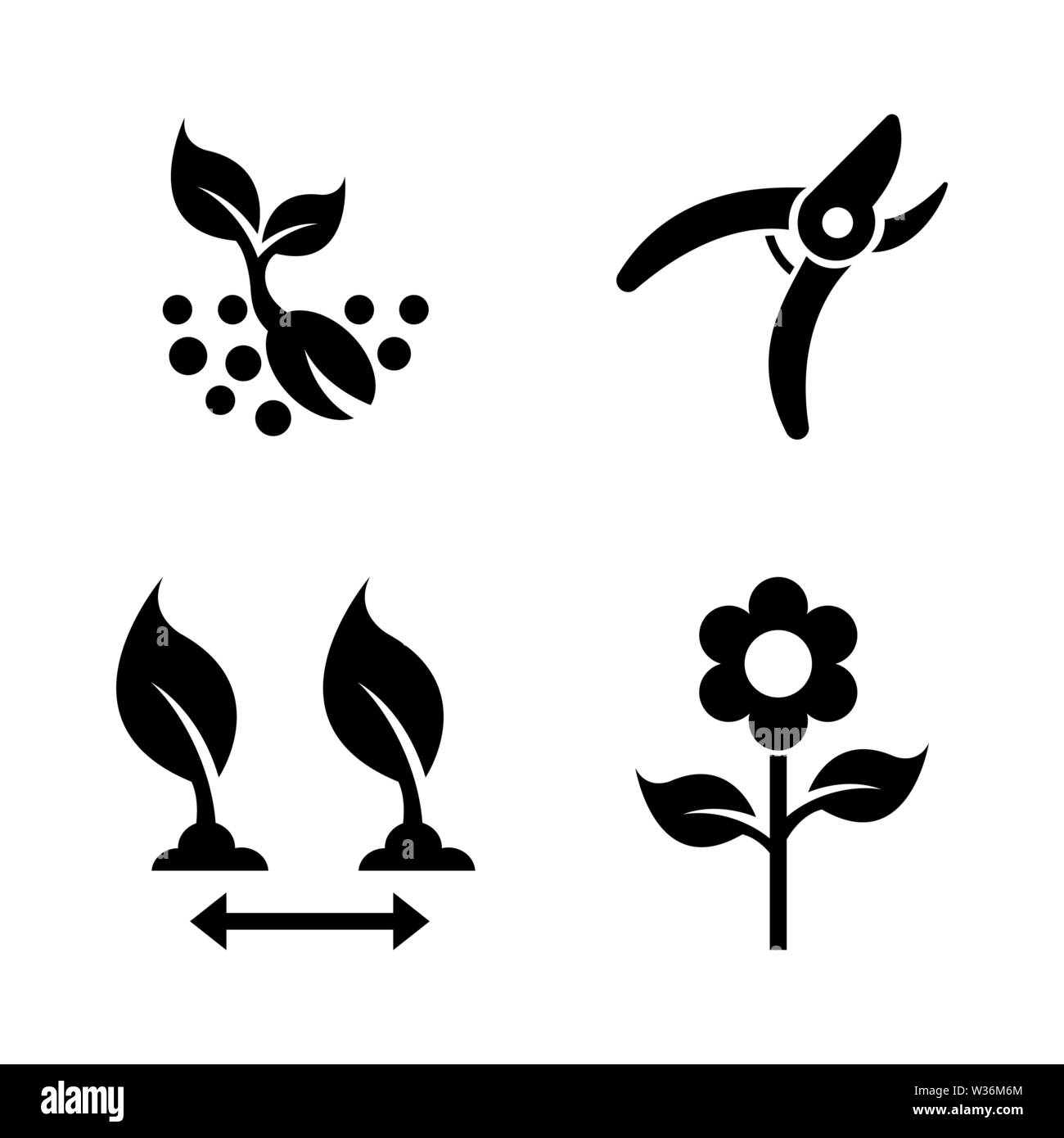 Seedling, Gardening. Simple Related Vector Icons Set for Video, Mobile Apps, Web Sites, Print Projects and Your Design. Seedling, Gardening icon Black - Stock Vector