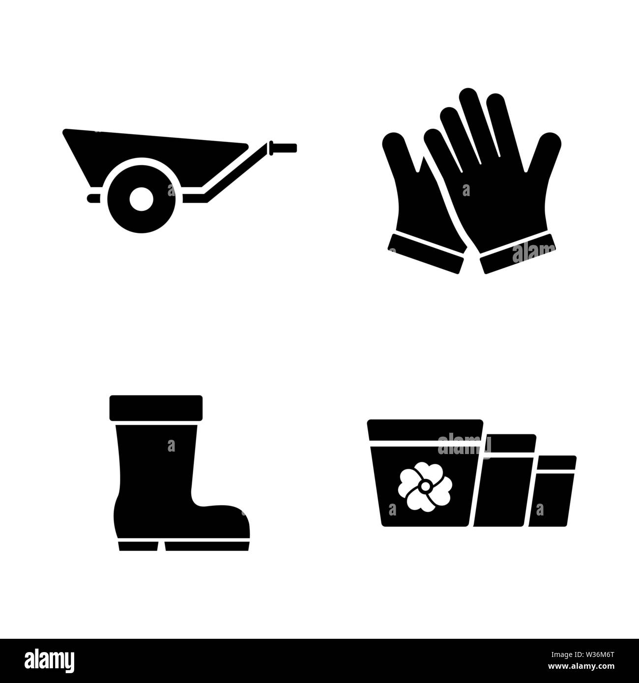 Gardening Grower Tools. Simple Related Vector Icons Set for Video, Mobile Apps, Web Sites, Print Projects and Your Design. Gardening Grower Tools icon Stock Vector