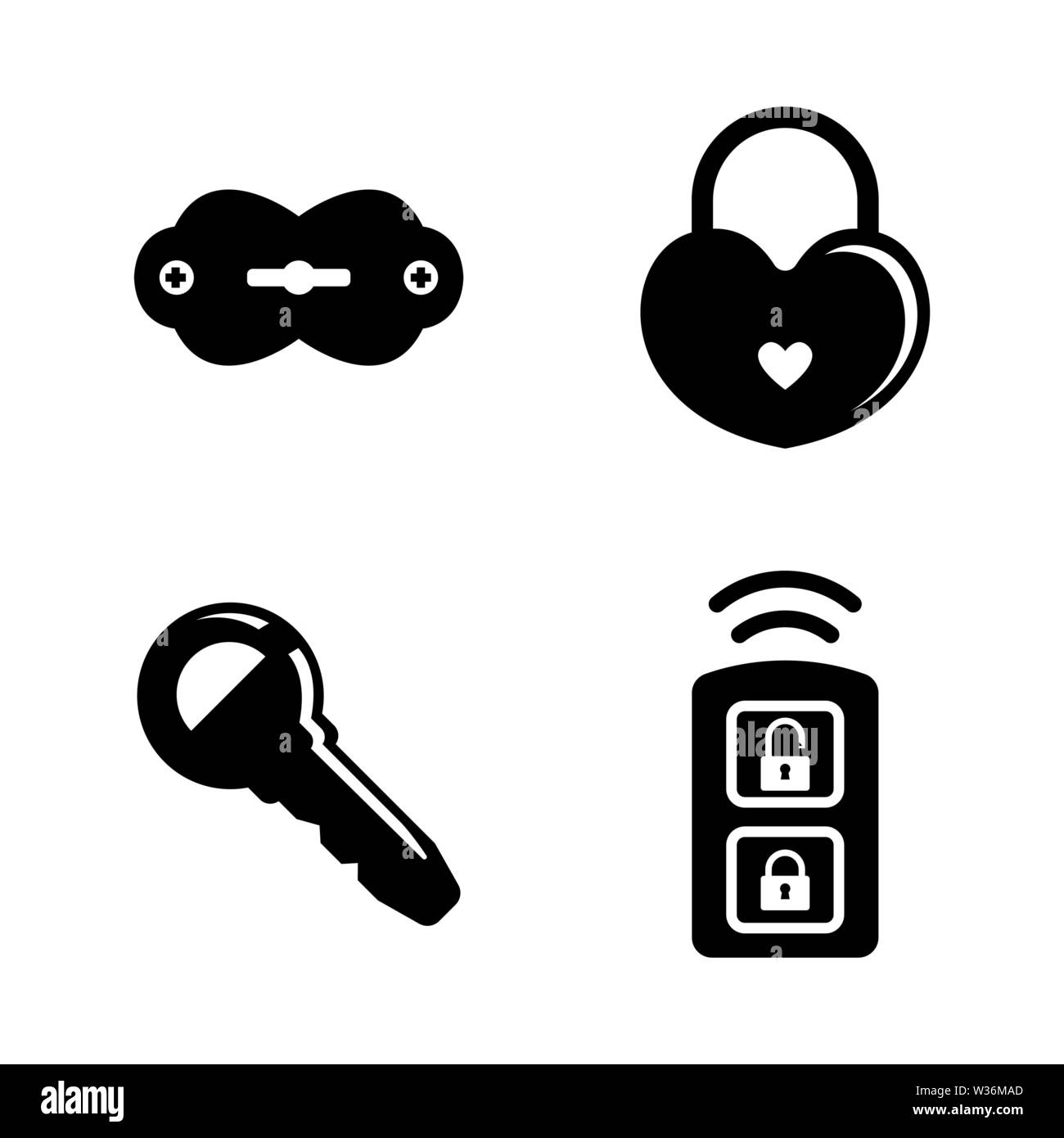 Security Keys, Lock. Simple Related Vector Icons Set for Video, Mobile Apps, Web Sites, Print Projects and Your Design. Security Keys, Lock icon Black - Stock Image