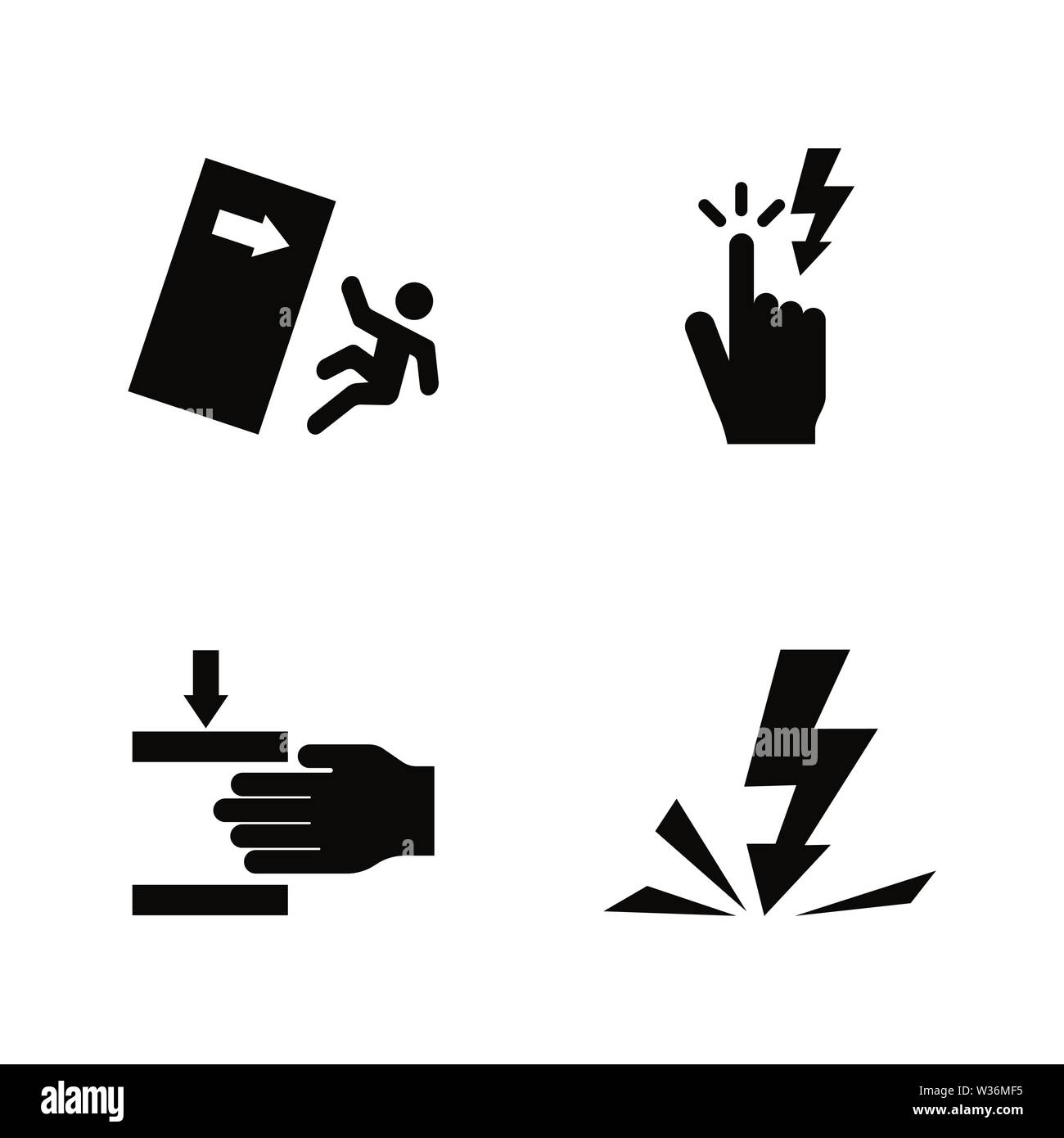 Warning Signs, Danger. Simple Related Vector Icons Set for Video, Mobile Apps, Web Sites, Print Projects and Your Design. Warning Signs, Danger icon B - Stock Vector