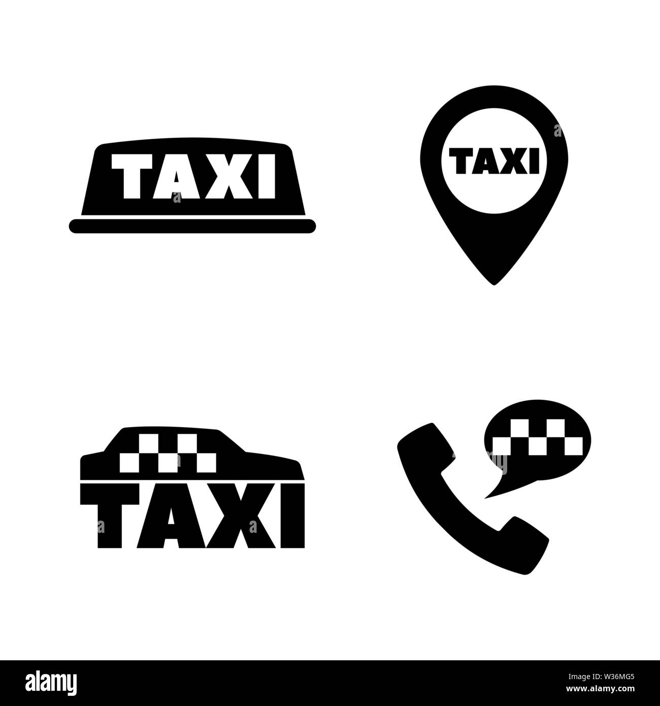 Taxi Car, Call Service. Simple Related Vector Icons Set for Video, Mobile Apps, Web Sites, Print Projects and Your Design. Taxi Car, Call Service icon - Stock Image