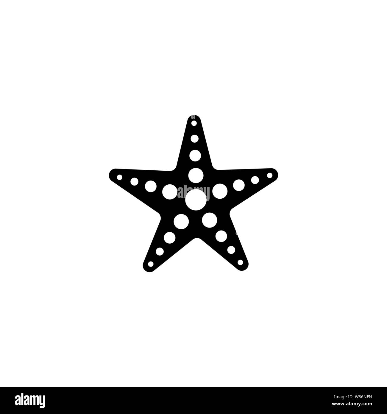 Starfish vector icon. Simple flat symbol on white background - Stock Image