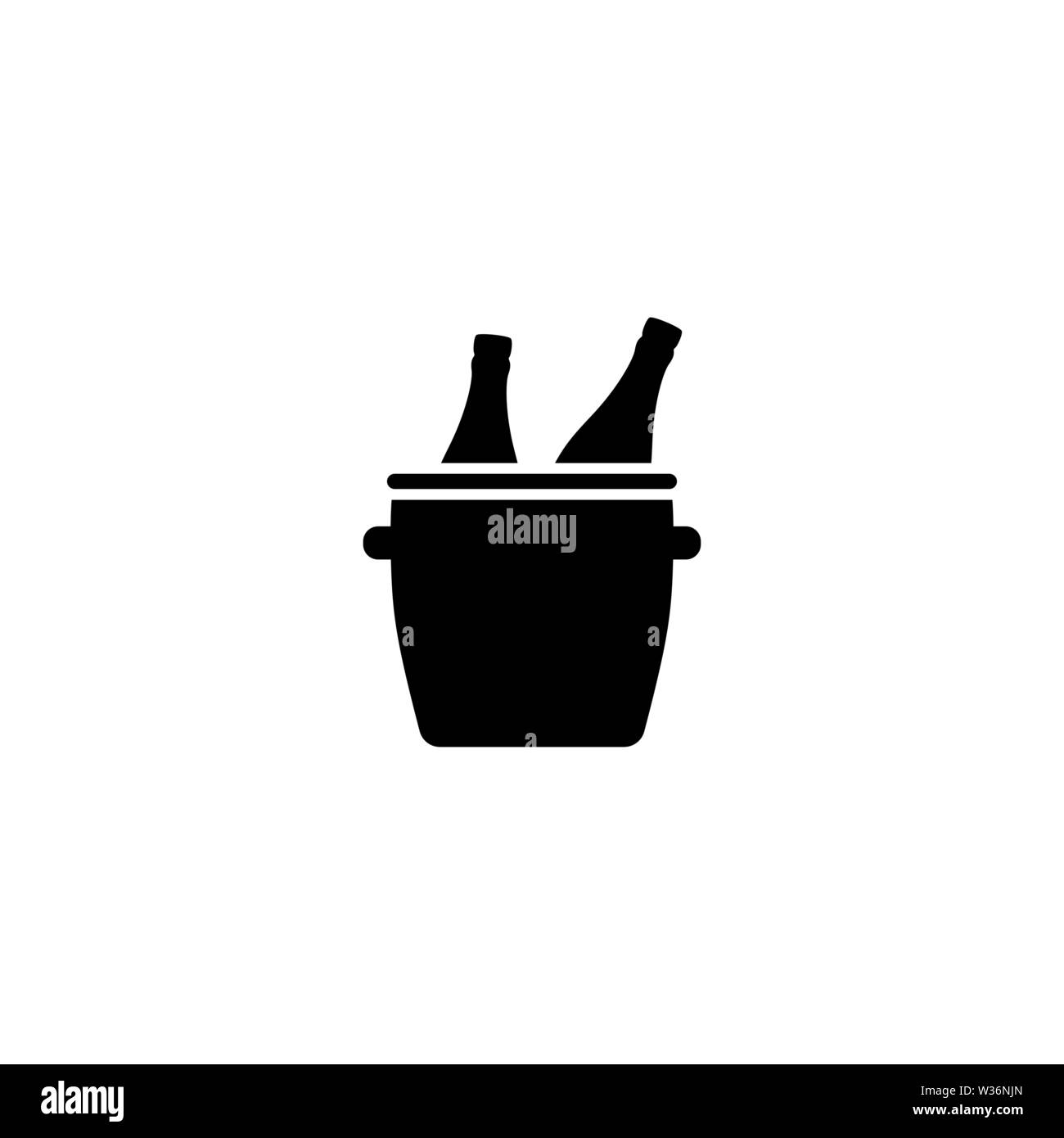 Bucket with Ice and Champagne Bottles vector icon. Simple flat symbol on white background - Stock Image