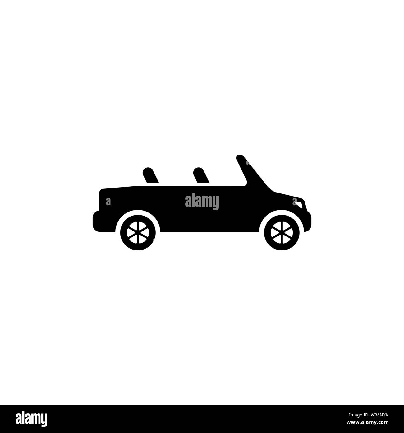 Cabriolet. Flat Vector Icon. Simple black symbol on white background - Stock Image