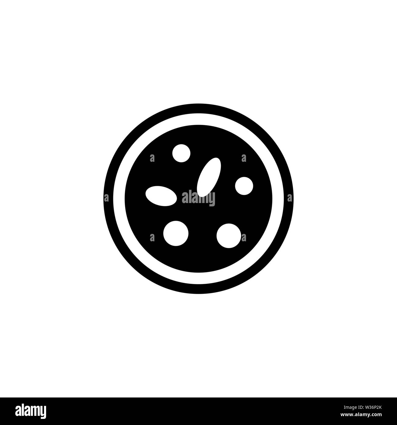 Bacteria under the Microscope. Flat Vector Icon. Simple black symbol on white background - Stock Vector