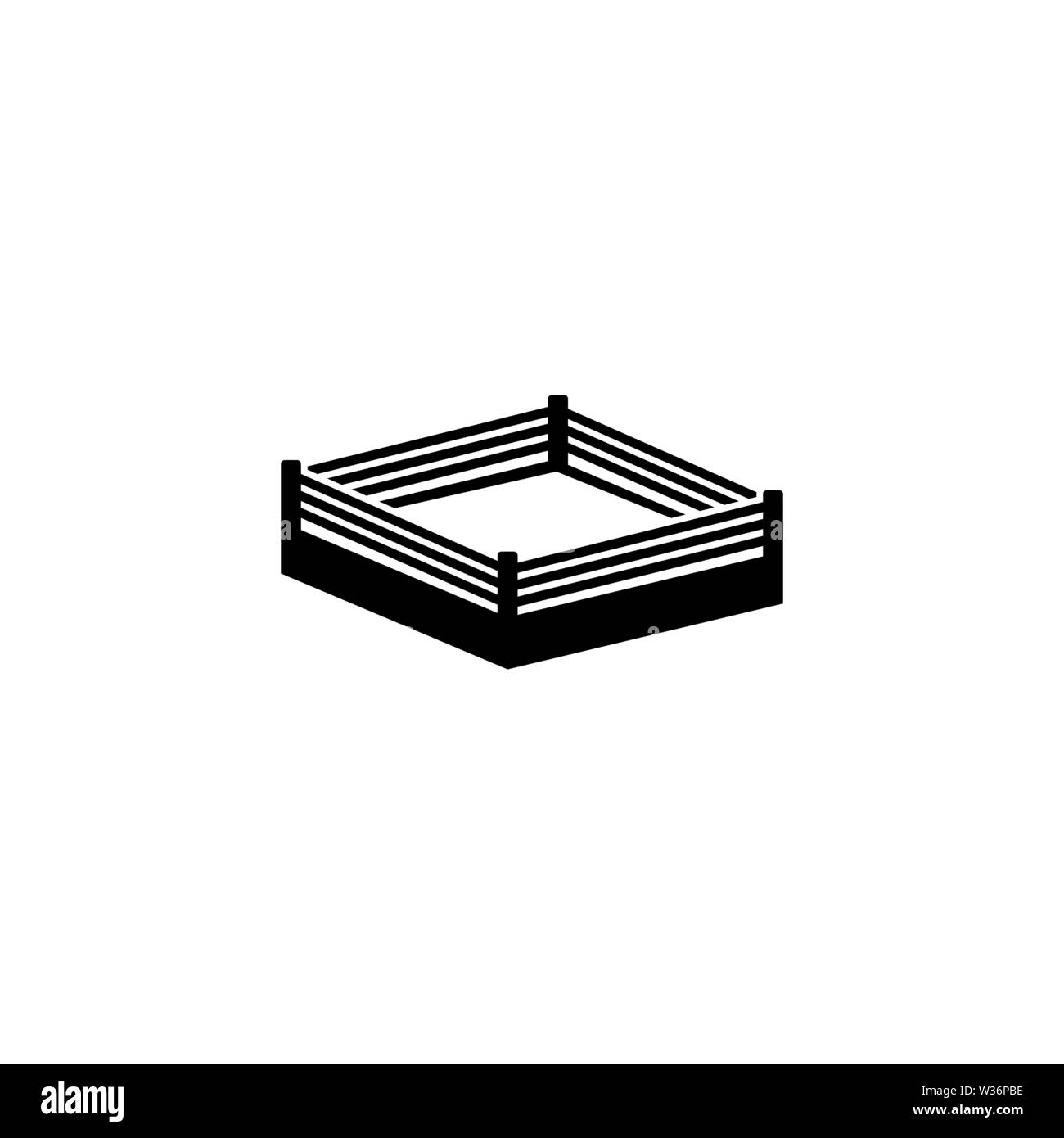 Boxing Ring. Flat Vector Icon. Simple black symbol on white background - Stock Image