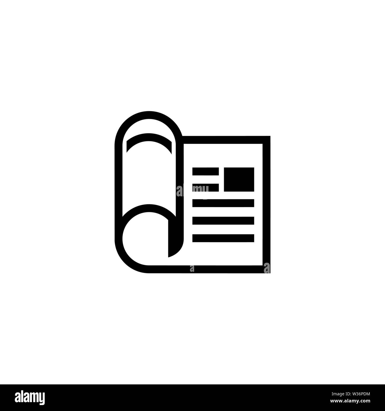 Financial Newspaper. Flat Vector Icon. Simple black symbol on white background - Stock Image
