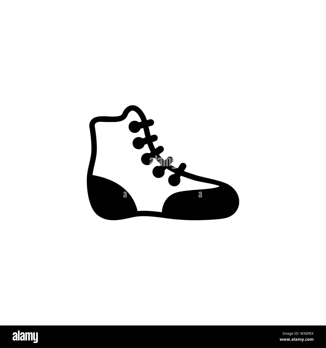 Boxing Shoe. Wrestling Boot. Flat Vector Icon. Simple black symbol on white background - Stock Image