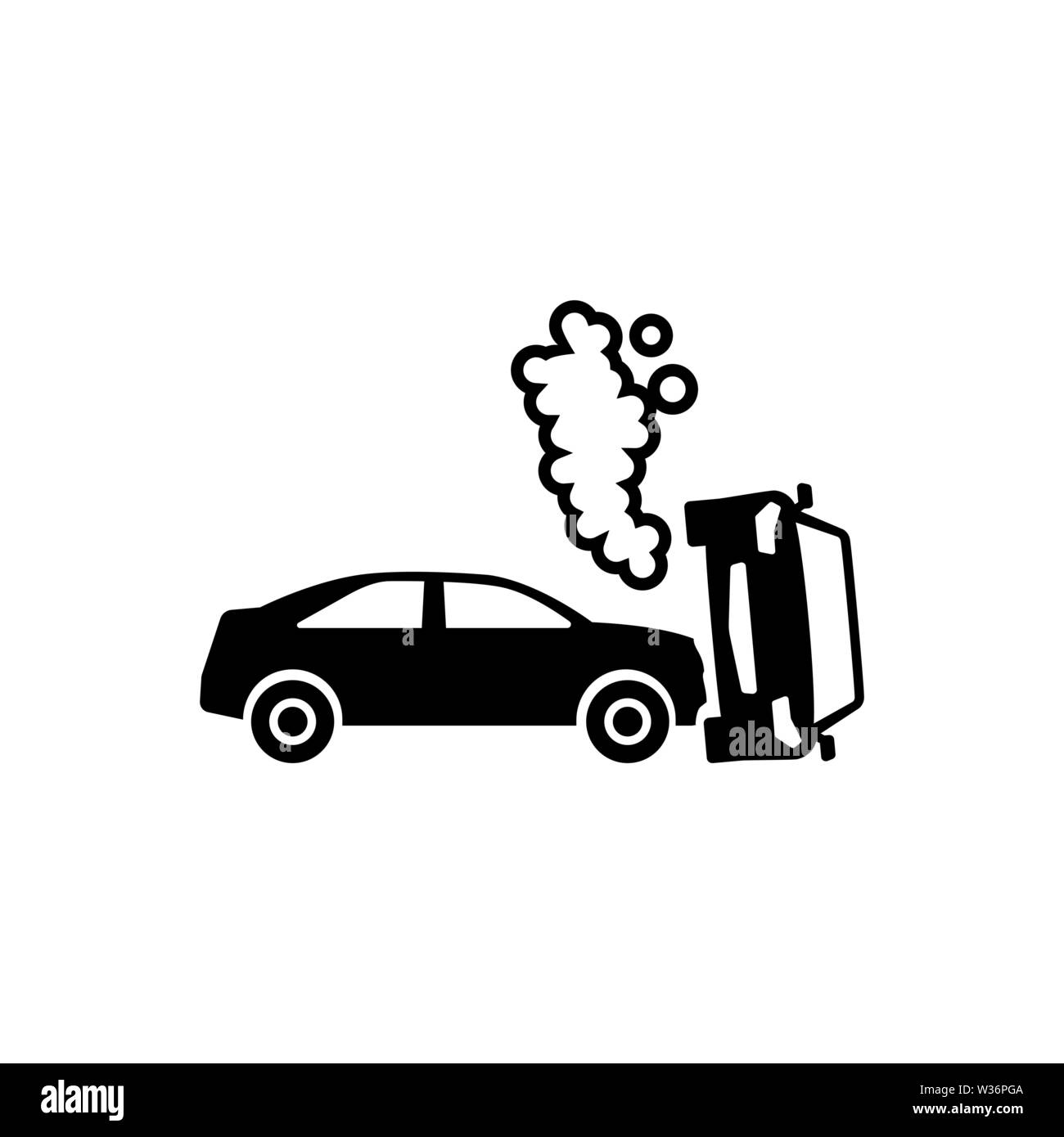 Car Crash Flat Vector Icon Simple Black Symbol On White Background