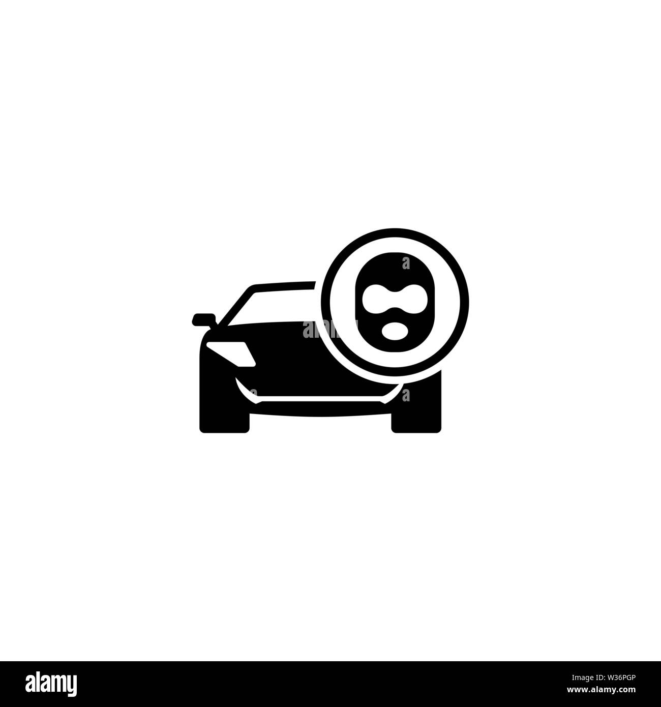 Car Thief. Flat Vector Icon. Simple black symbol on white background - Stock Image
