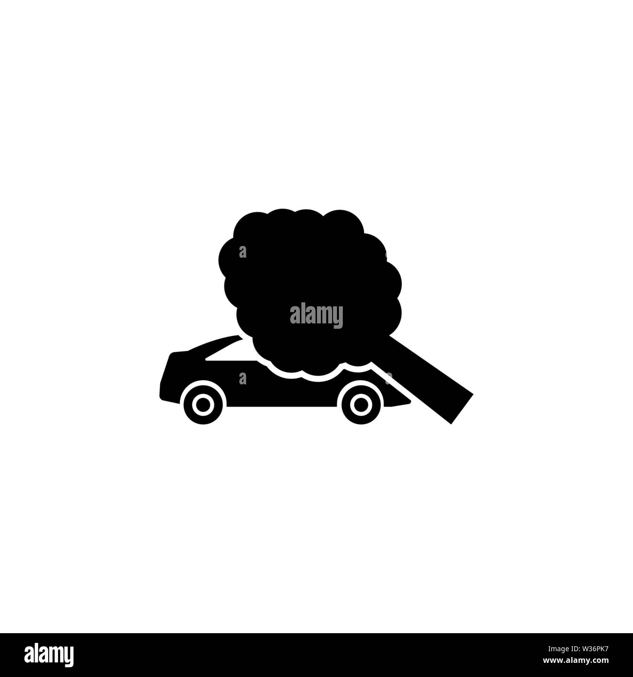 Traffic Accident Tree Fell the Car. Flat Vector Icon. Simple black symbol on white background Stock Vector