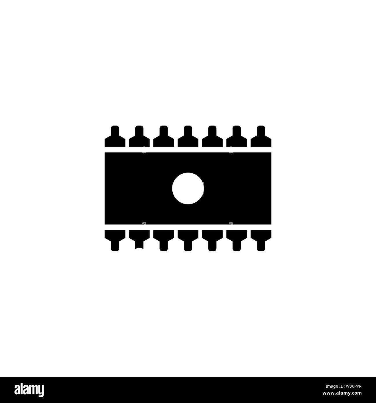 Memory Chip. Flat Vector Icon. Simple black symbol on white background - Stock Image