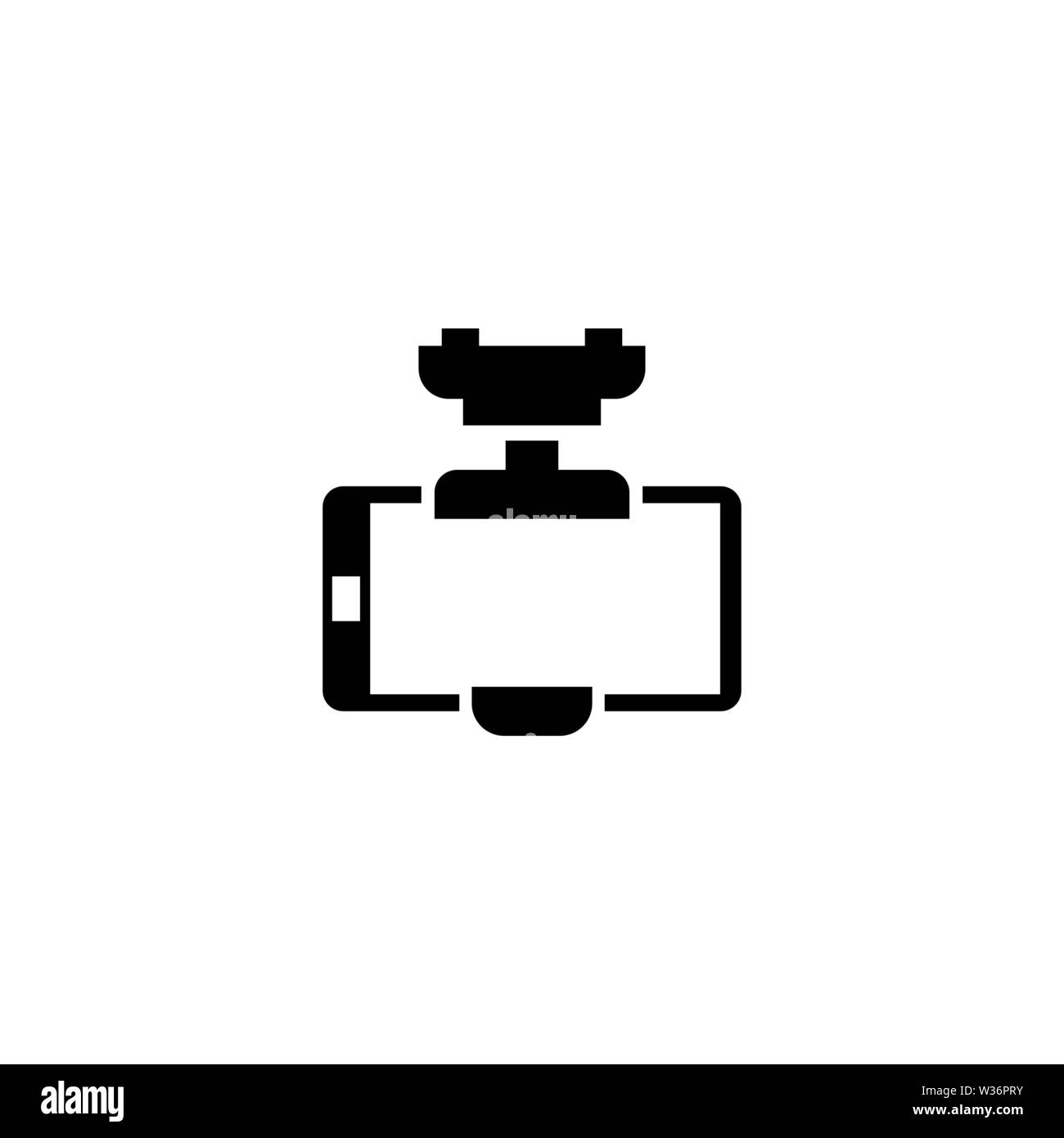 Smartphone Car Holder. Flat Vector Icon. Simple black symbol on white background - Stock Image