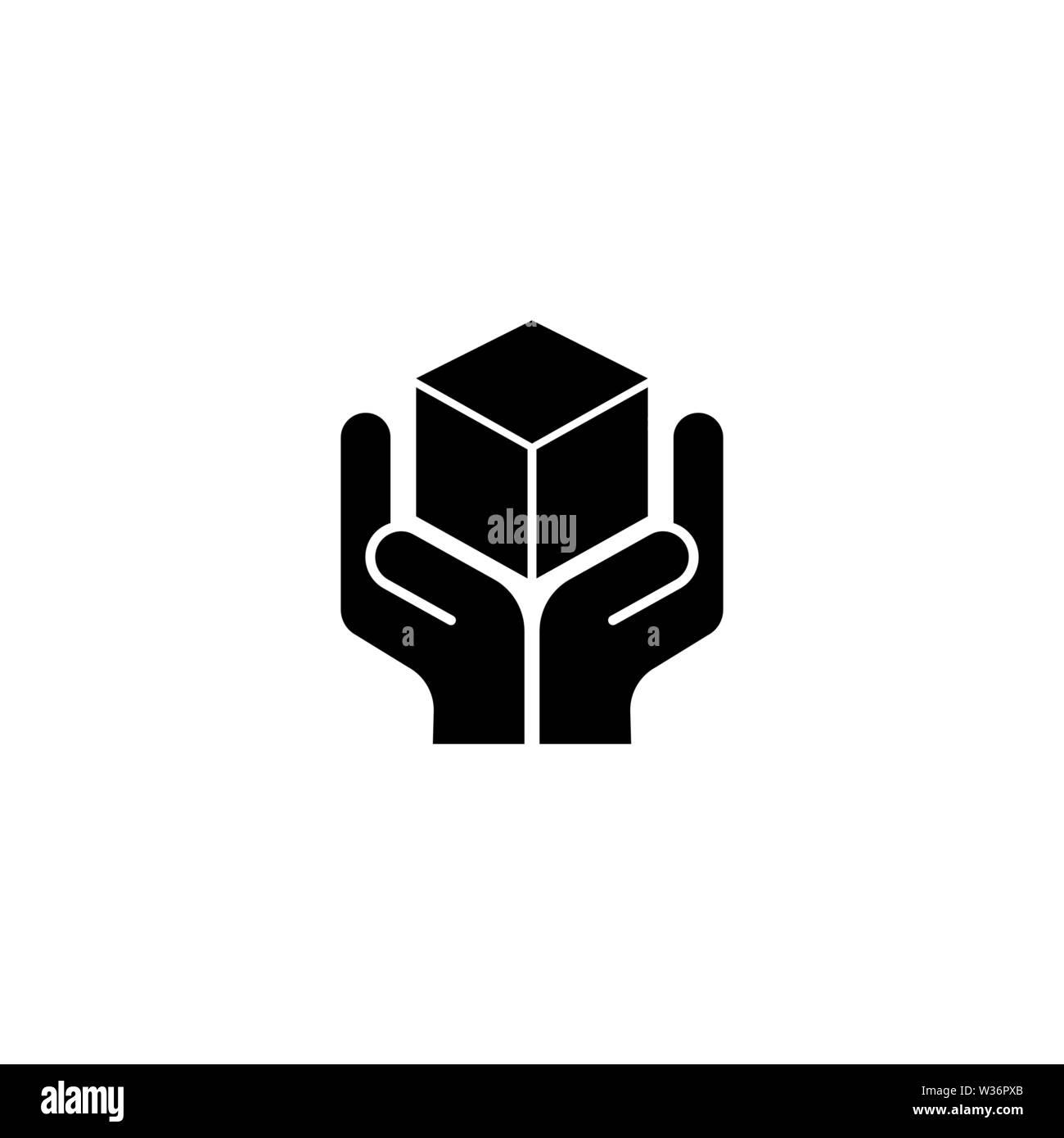 Logistics, Hand Holding Parcel. Flat Vector Icon illustration. Simple black symbol on white background. Logistics, Hand Holding Parcel sign design tem - Stock Image
