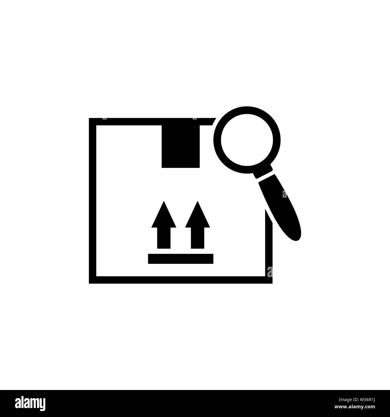 Search Delivery Service. Flat Vector Icon illustration. Simple black symbol on white background. Search Delivery Service sign design template for web - Stock Image