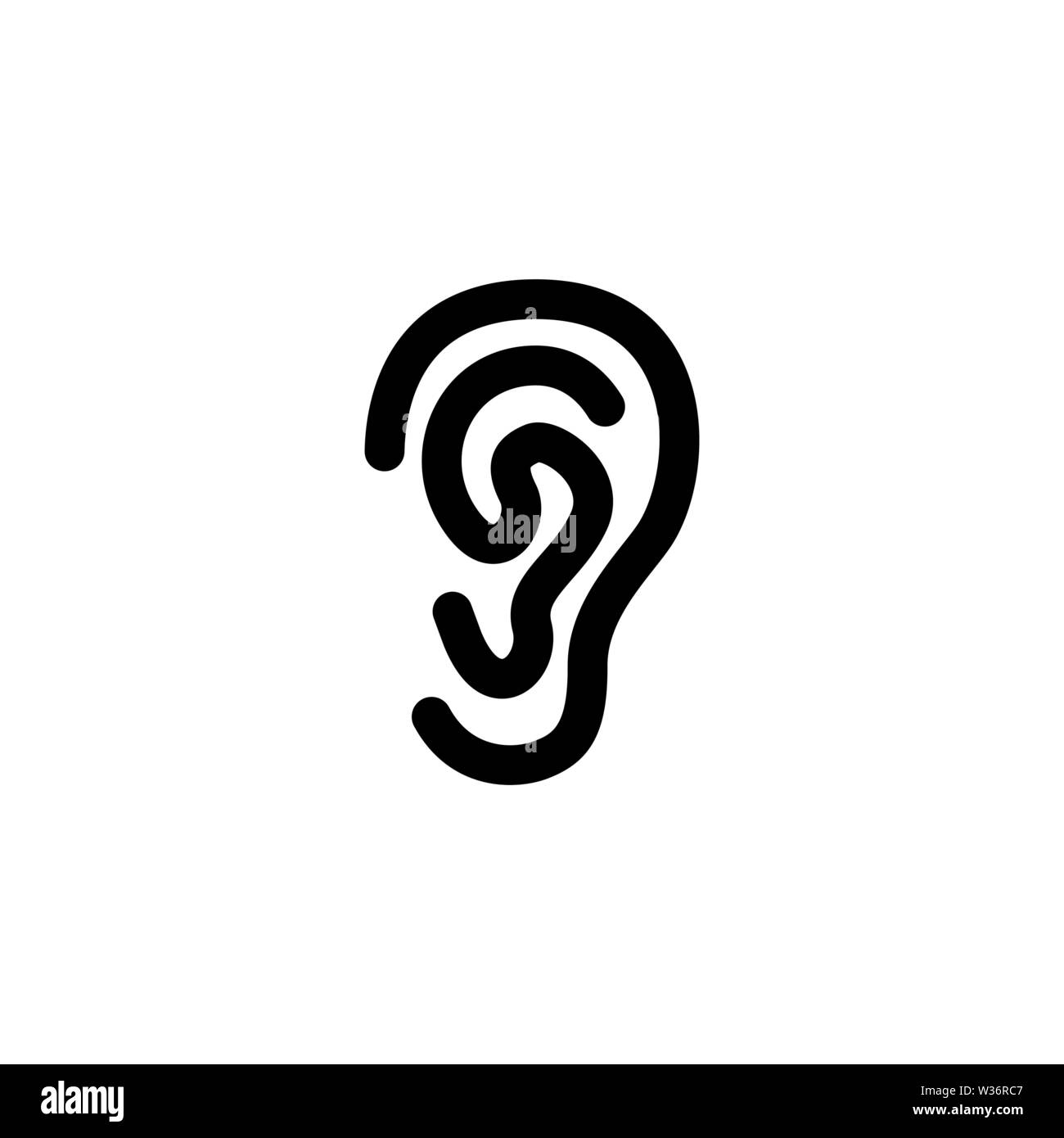 Ear. Flat Vector Icon illustration. Simple black symbol on white background. Ear sign design template for web and mobile UI element - Stock Image