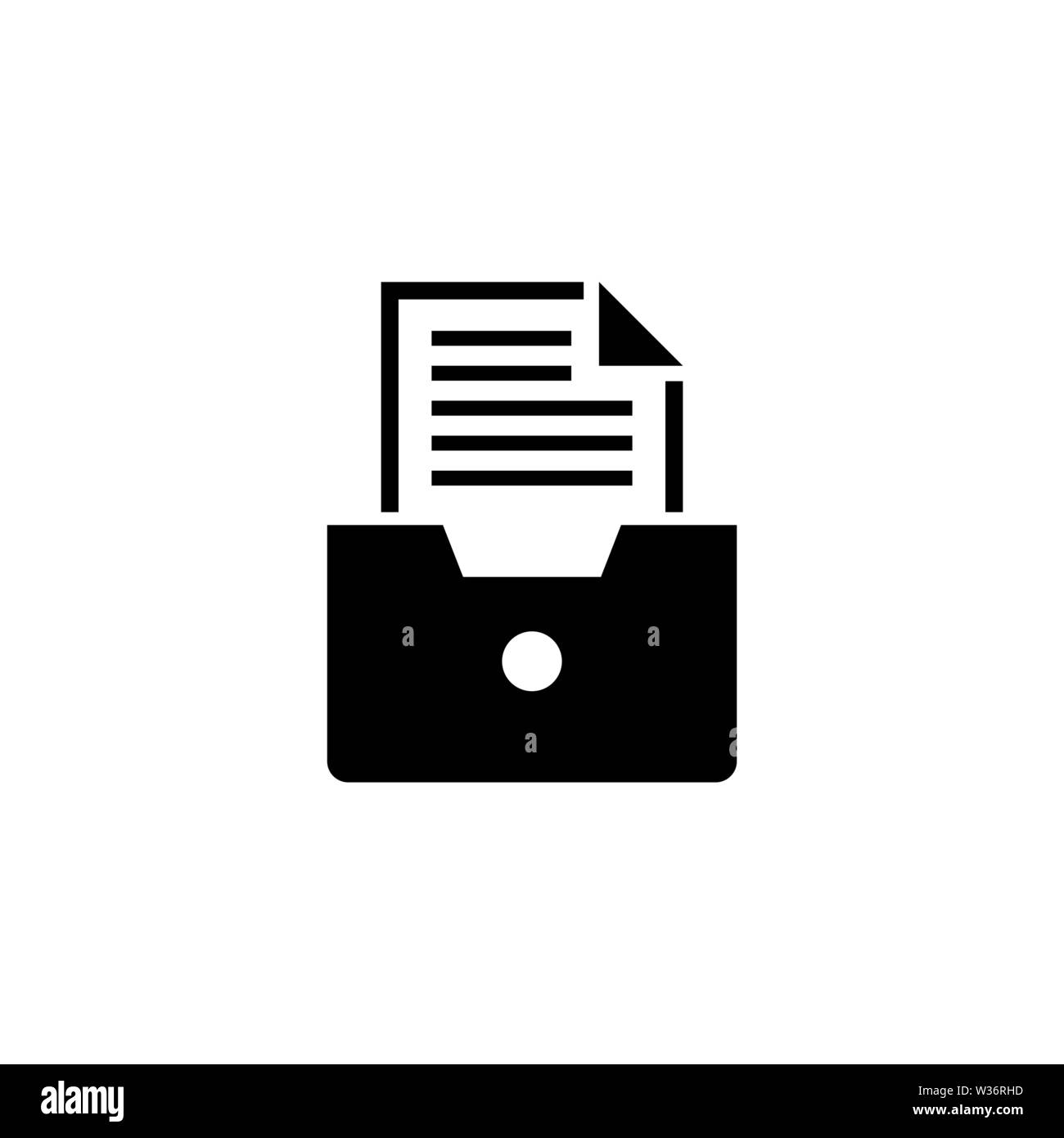 File Drawer, Archive Document. Flat Vector Icon illustration. Simple black symbol on white background. File Drawer, Archive Document sign design templ - Stock Image