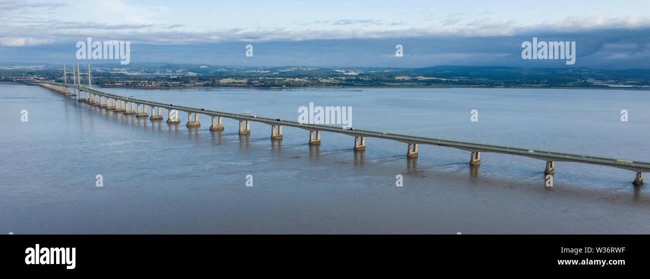 Aerial view of the Severn Bridge near Bristol, United Kingdom, - Stock Image
