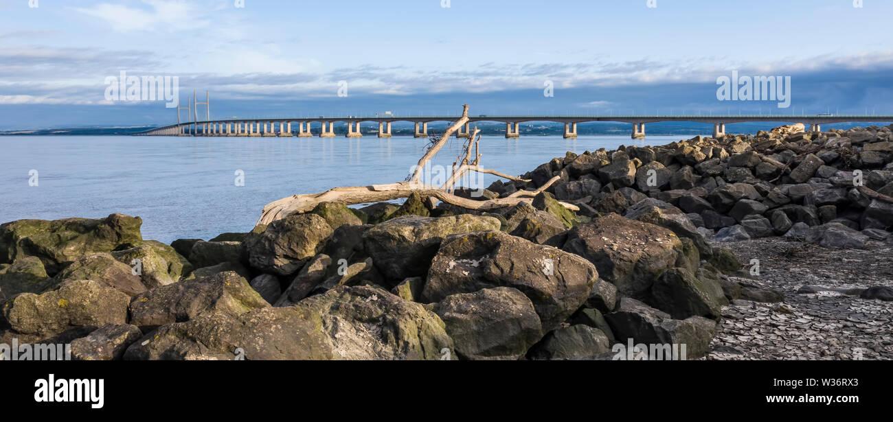 lowlevel view of the Severn Bridge from severn beach near Bristol, United Kingdom, - Stock Image