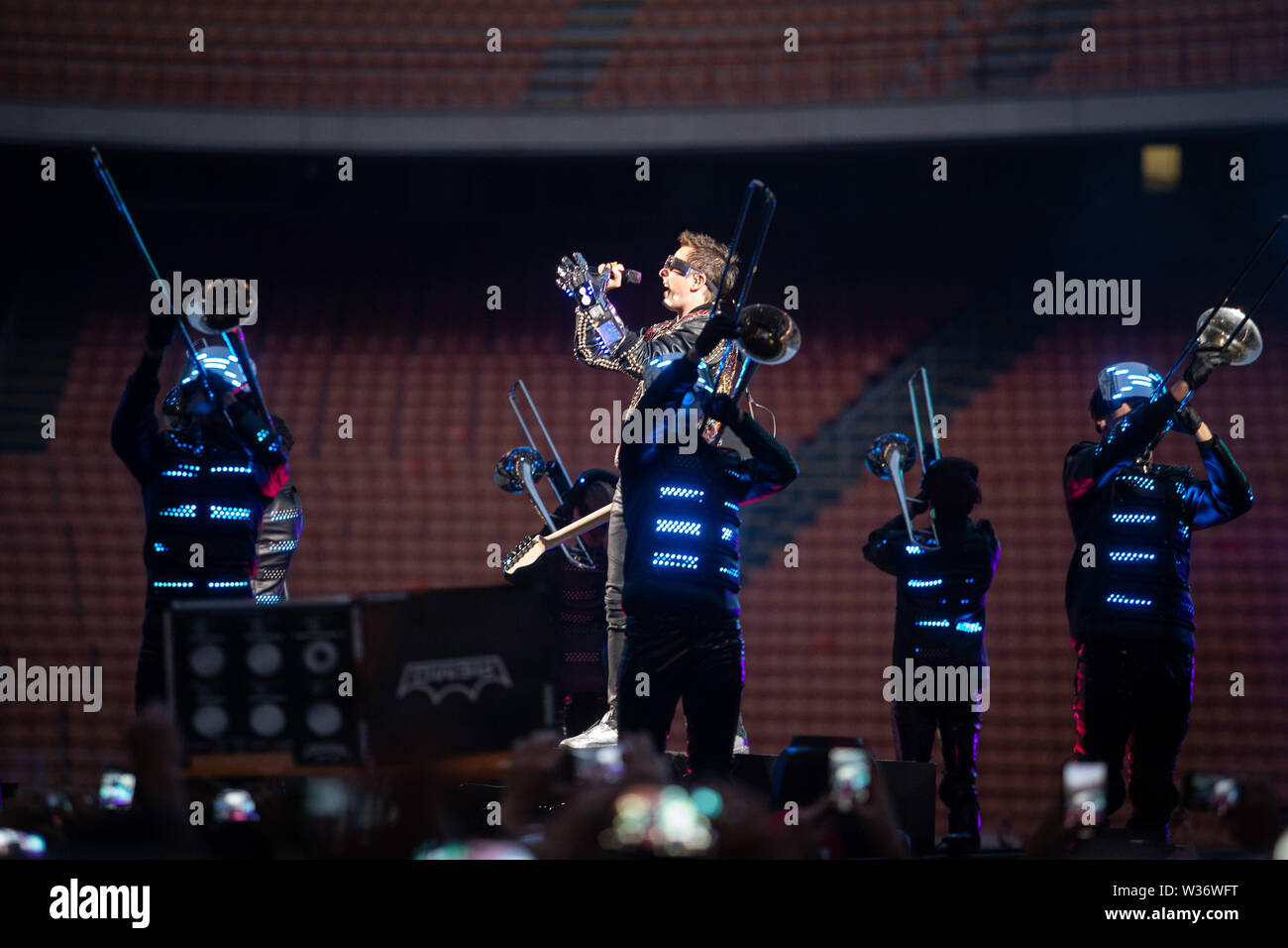 Milan, 12th of July. MUSE performs live @ Stadio Giuseppe Meazza di San Siro, Milano. Copyright Davide Merli | Alamy Stock Photo