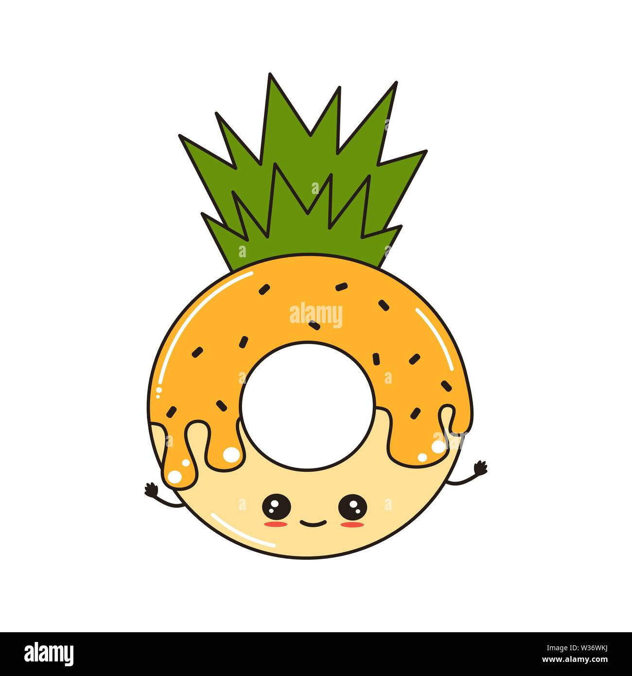 cute cartoon vector character donut pineapple funny illustration isolated on white background W36WKJ