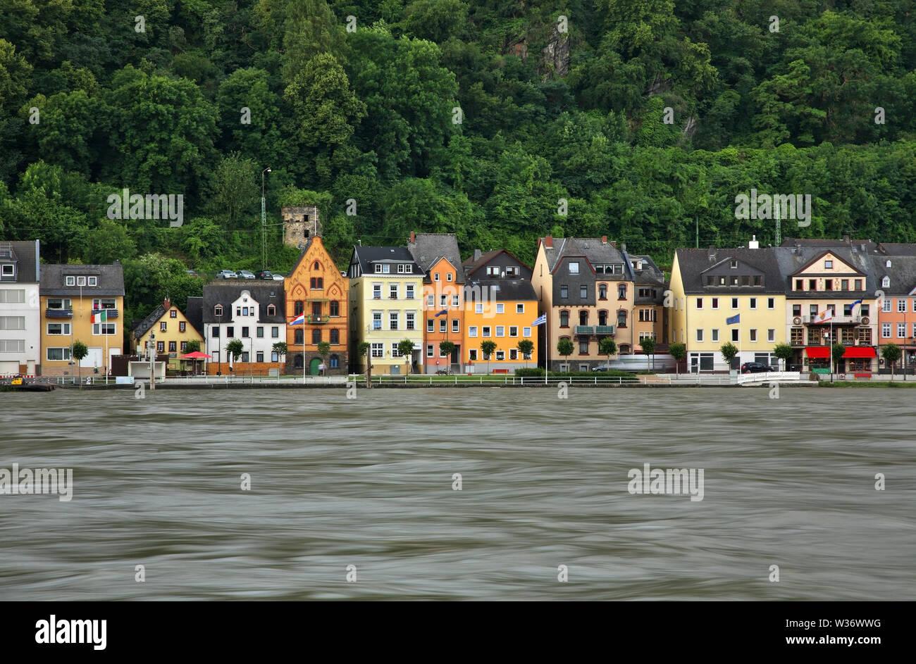 Embankment of Rhine river in Sankt Goar am Rhein. Germany - Stock Image