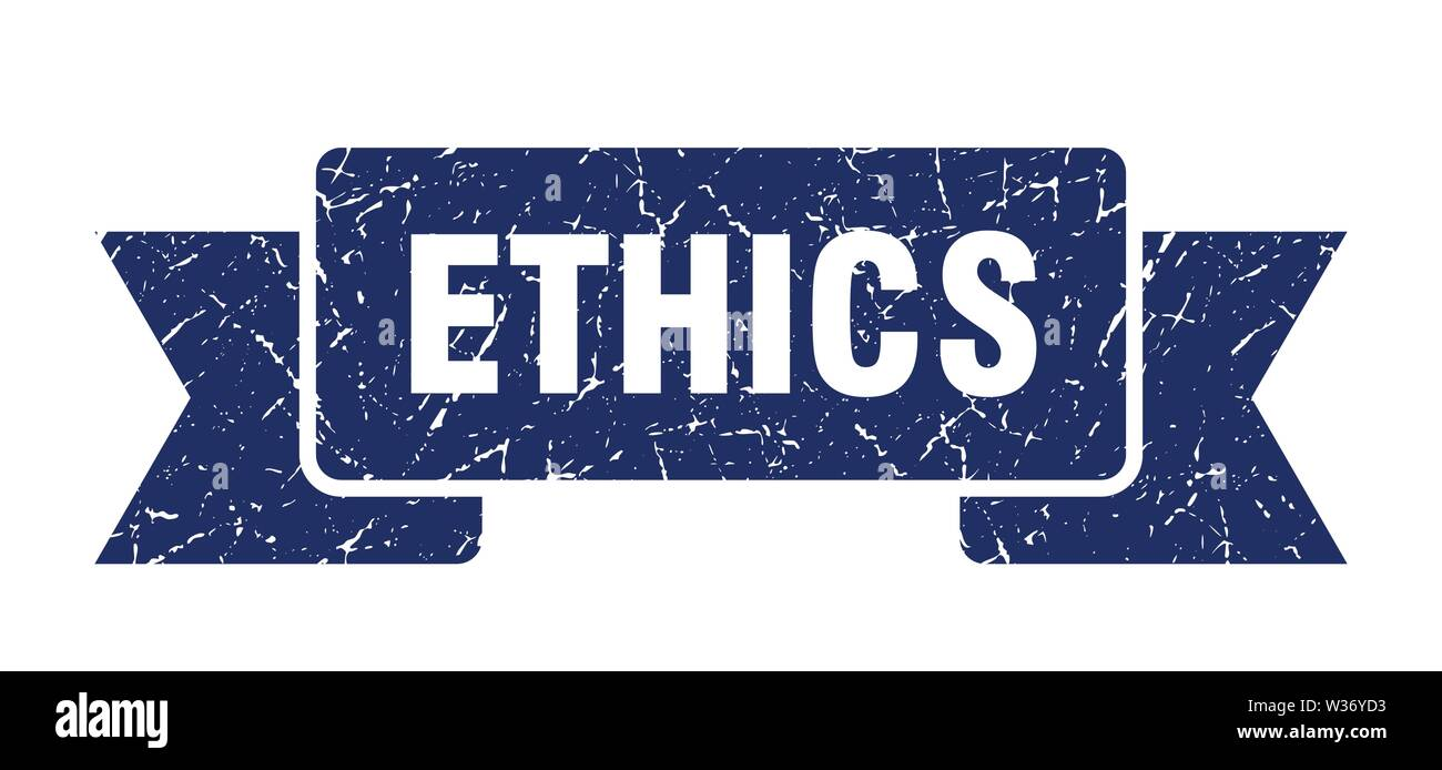 ethics grunge ribbon. ethics sign. ethics banner - Stock Image