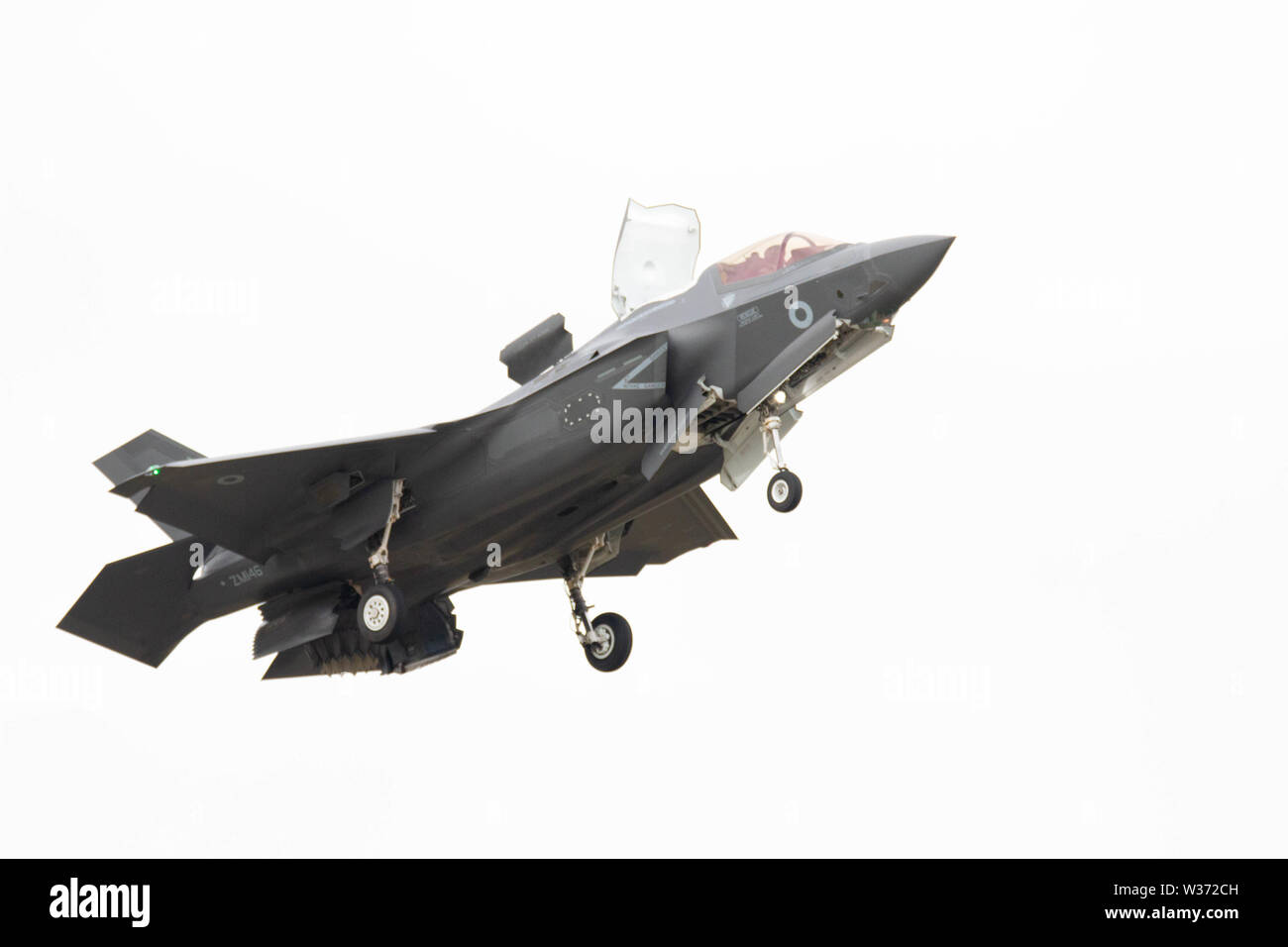RNAS Yeovilton, Yeovilton, Somerset, UK. 13th July 2019 A F-35B Lightning from the joint RN / RAF 617 Sqadron made it first appearance at Yeovilton AIr Day. The aircraft will be flown from the Royal Navys New Carriers HMS Queen Elizabeth which becomes operational next year Credit: Photographing North/Alamy Live News Stock Photo