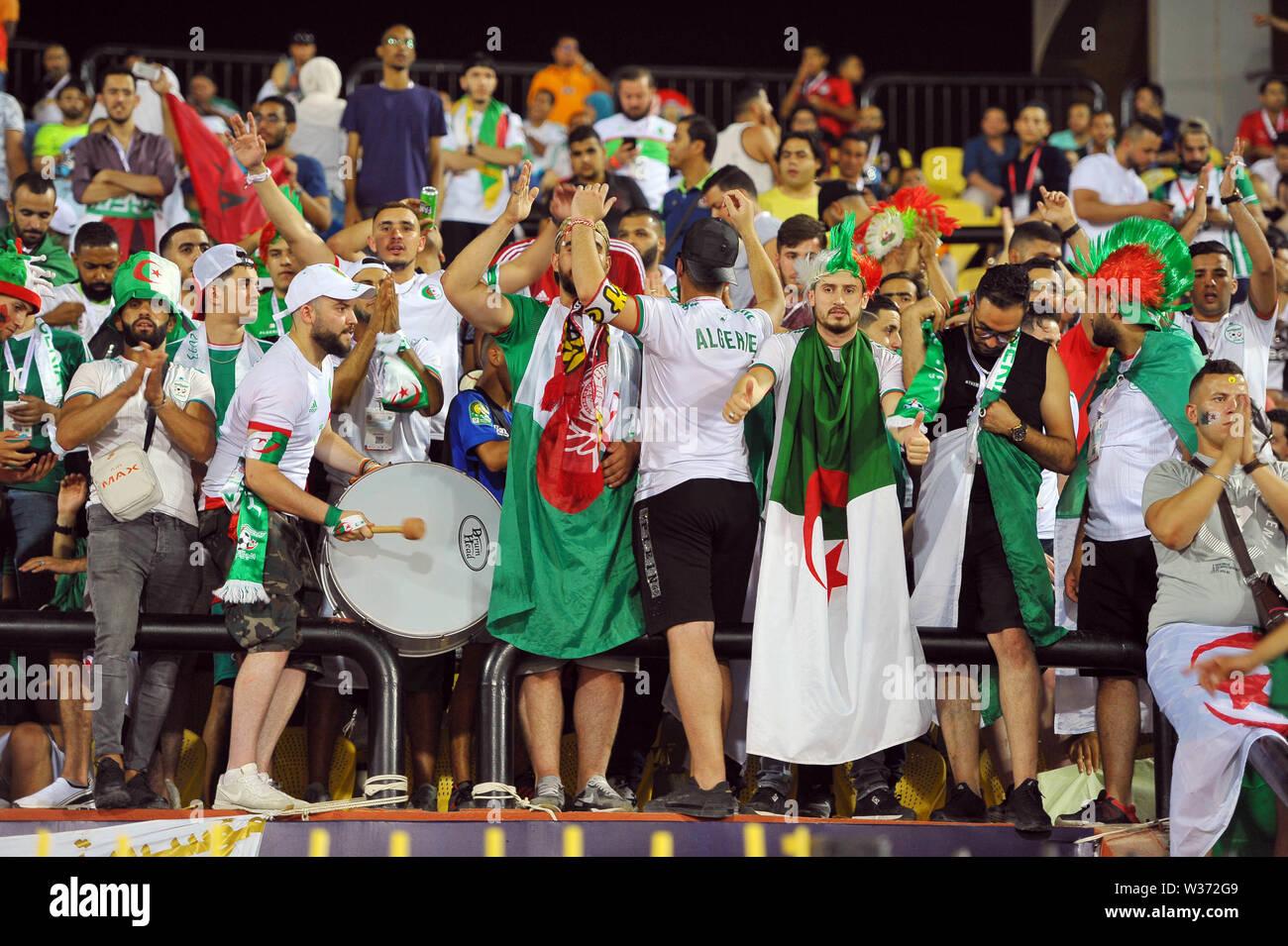 Cairo, Egypt. 1st July, 2019. Algerian fans during during the match Tanzania vs Algeria.Total Africa Cup of Nations Egypt 2019 at the Al Salam stadium of Cairo.photo: Chokri Mahjoub Credit: Chokri Mahjoub/ZUMA Wire/Alamy Live News - Stock Image