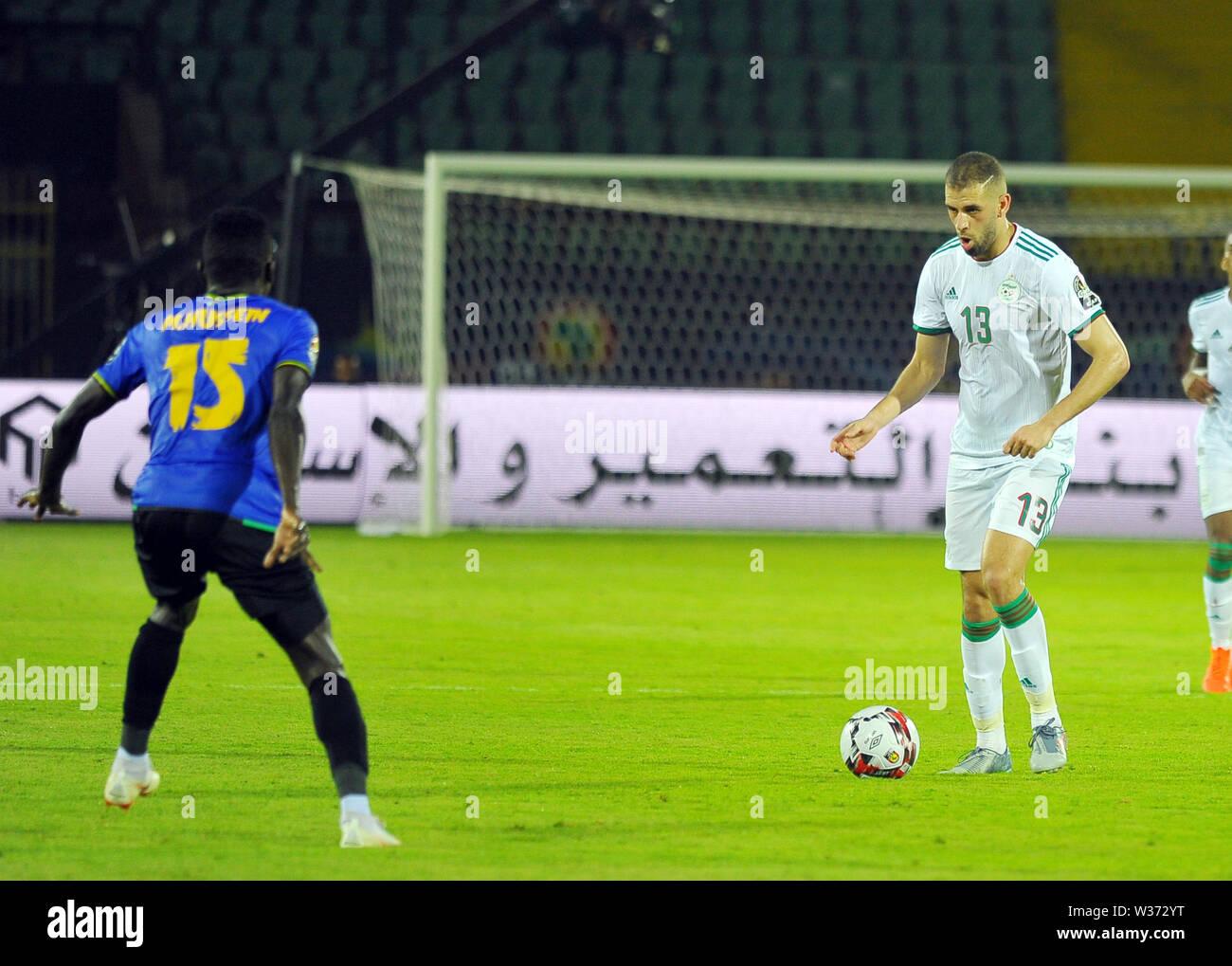July 1, 2019 - Cairo, Egypt - Islam Slimani (13) Algerian player during the match Tanzania vs Algeria..Total Africa Cup of Nations Egypt 2019 at the Al Salam  stadium  of Cairo.photo: Chokri Mahjoub (Credit Image: © Chokri Mahjoub/ZUMA Wire) - Stock Image
