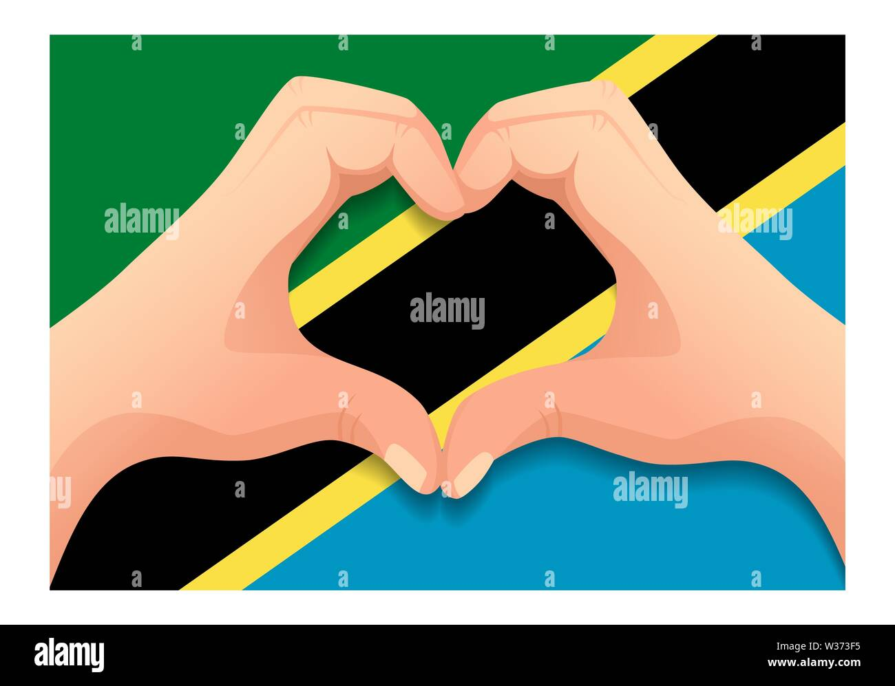 Tanzania flag and hand heart shape. Patriotic background. National flag of Tanzania  illustration - Stock Image