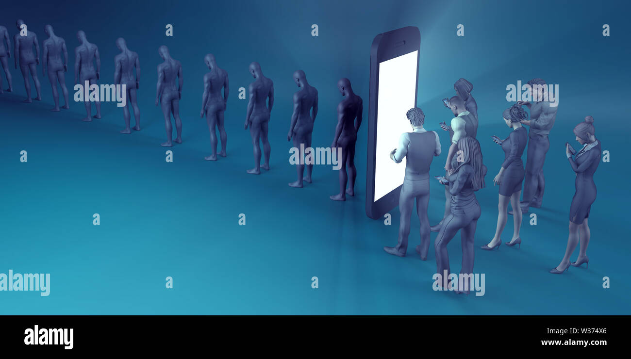 Technological Zombies with People Immersed in their Mobile Phones - Stock Image